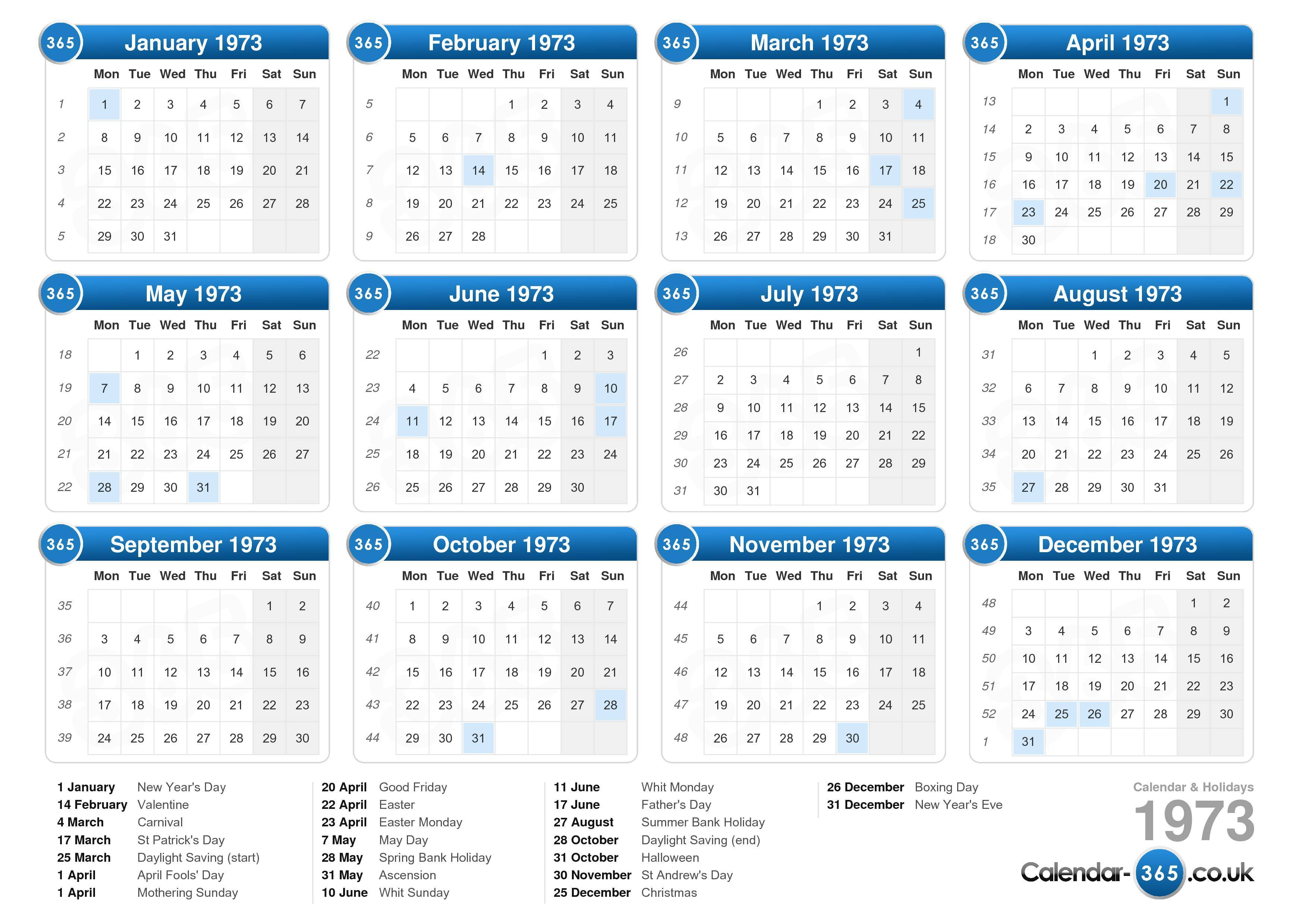 Download the printable calendar 1973 with holidays.