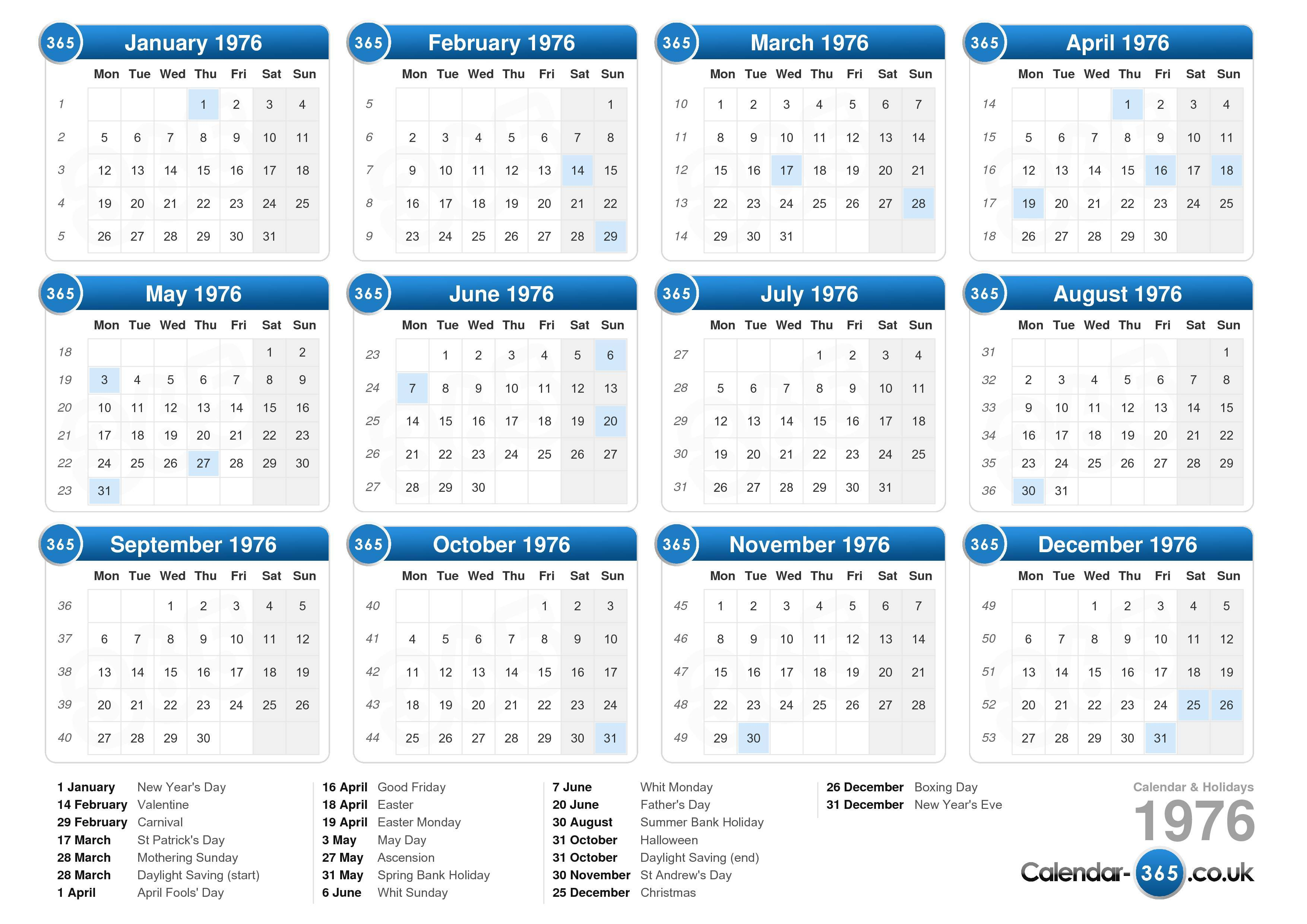 the calendar 1976 with holidays landscape format 1 page calendar ...