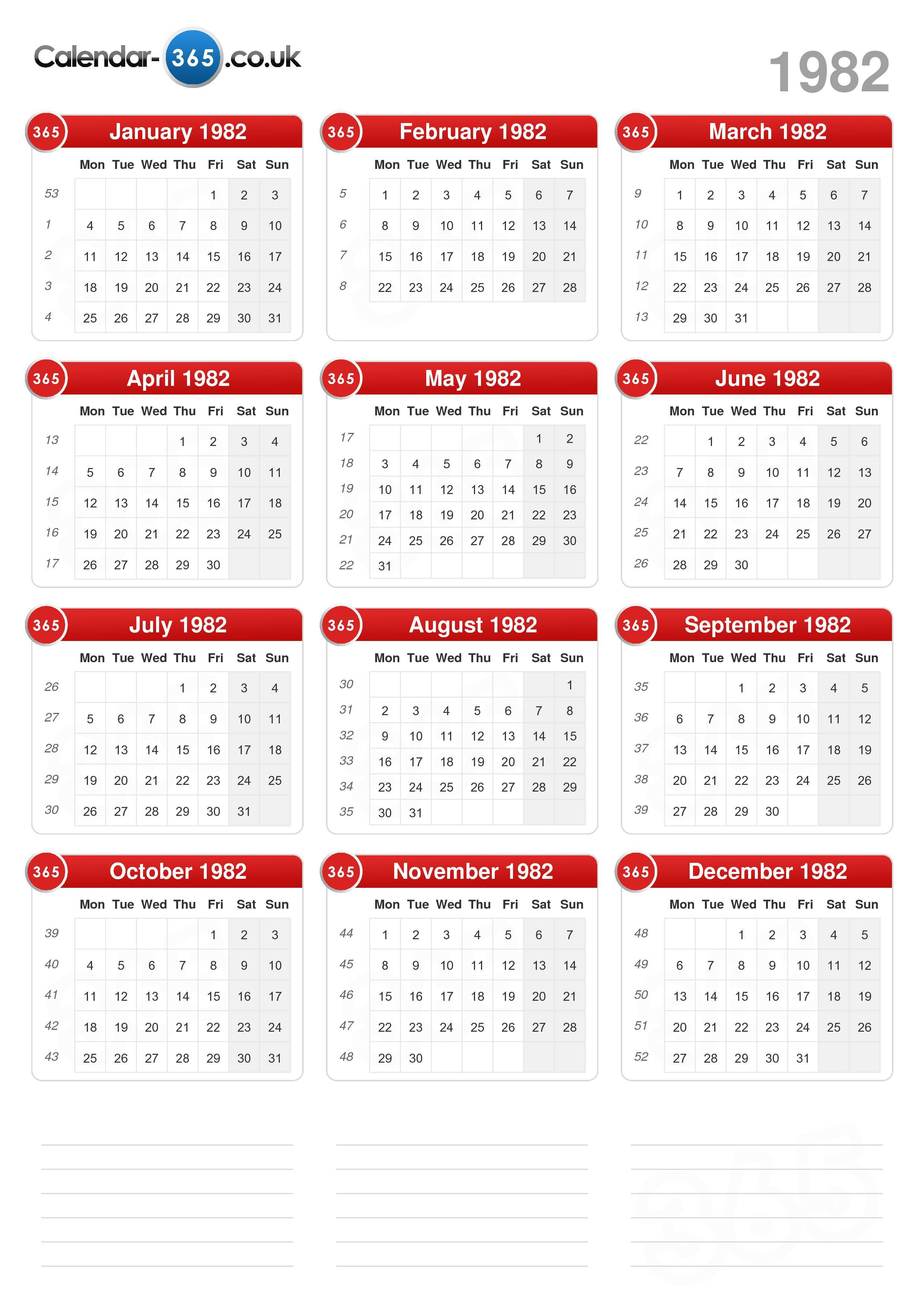 Download the Calendar 1982 without holidays . (Portrait format - 1 ...
