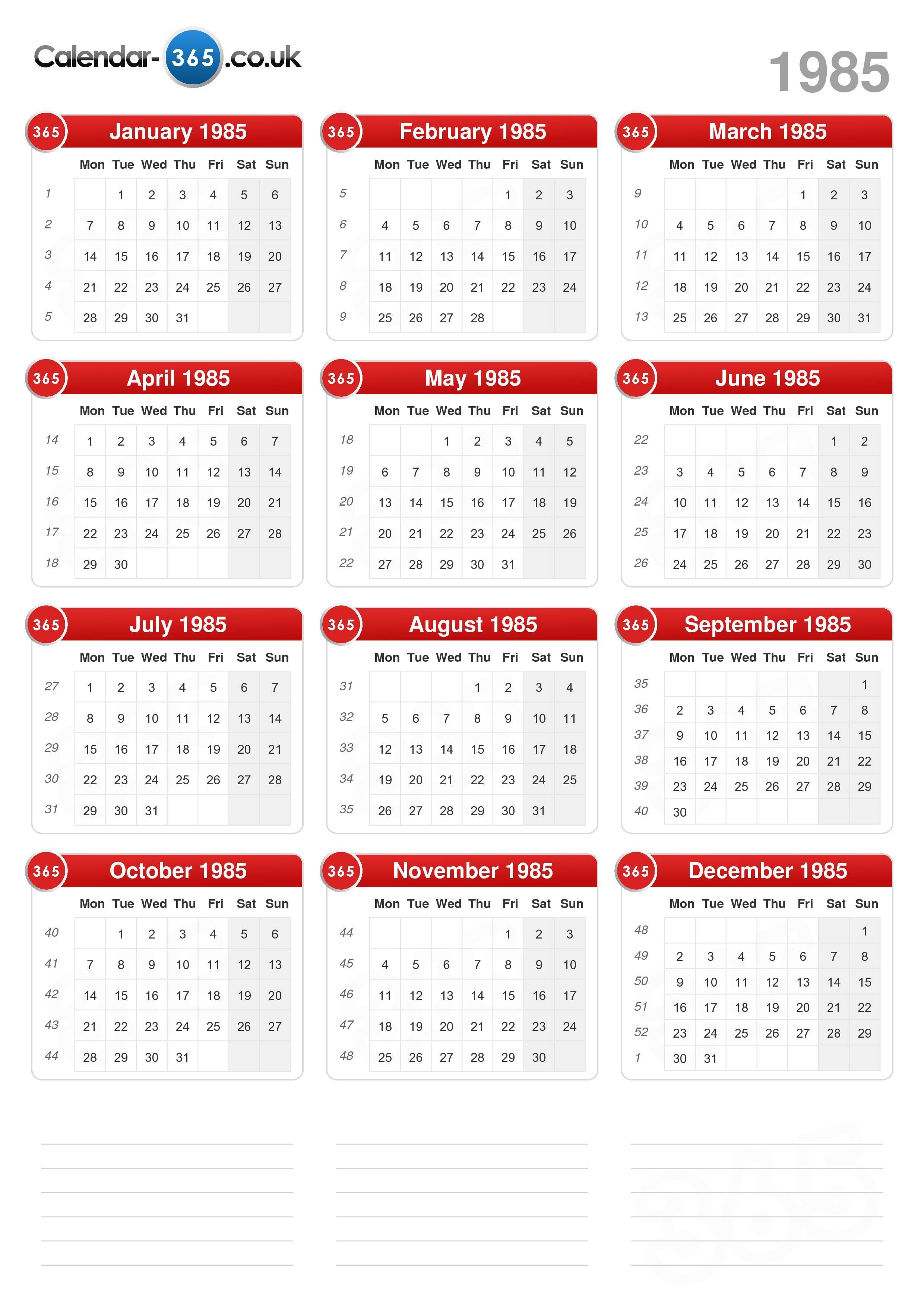 1985 Calendar.Calendar 1985