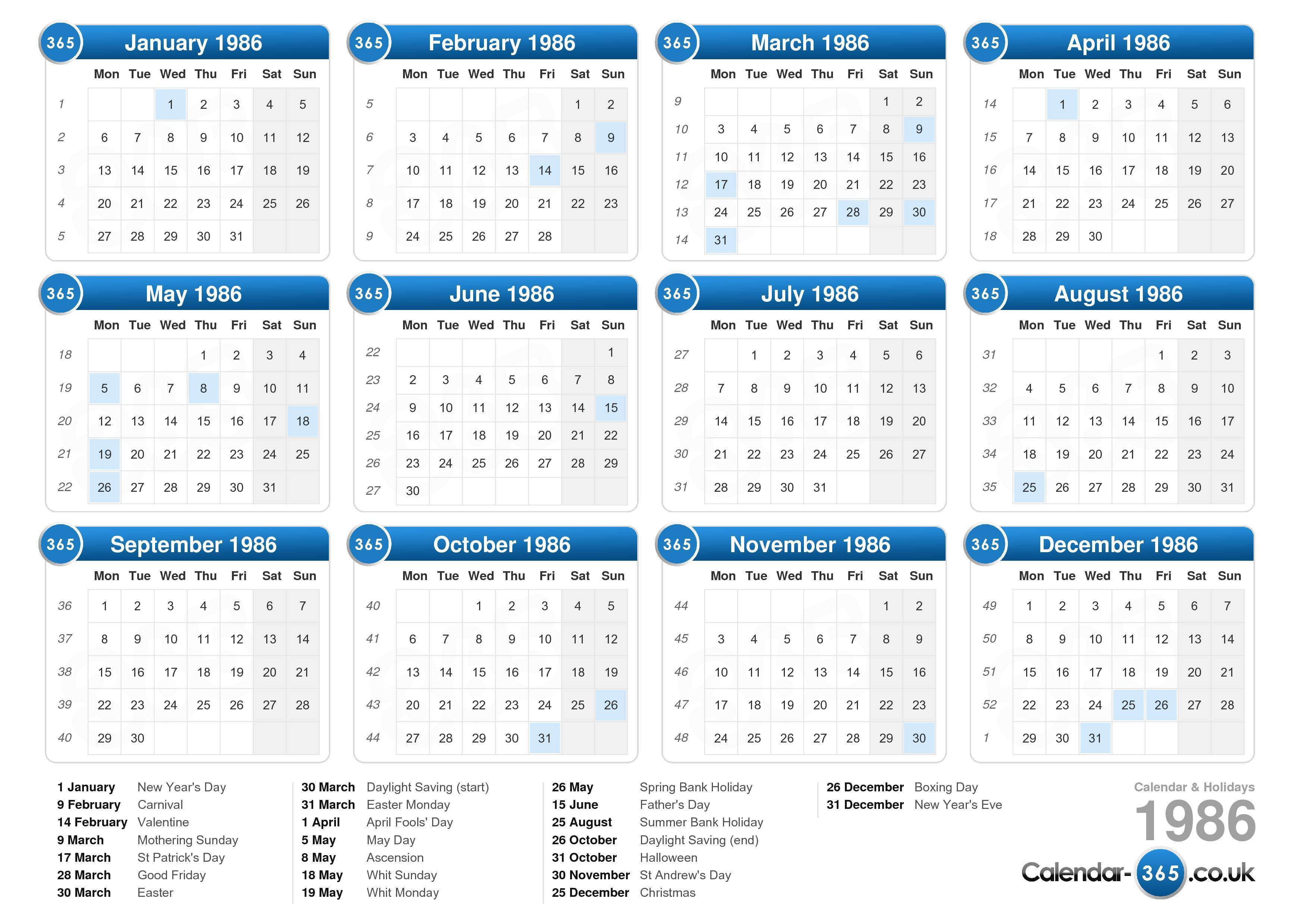 the calendar 1986 with holidays landscape format 1 page calendar ...