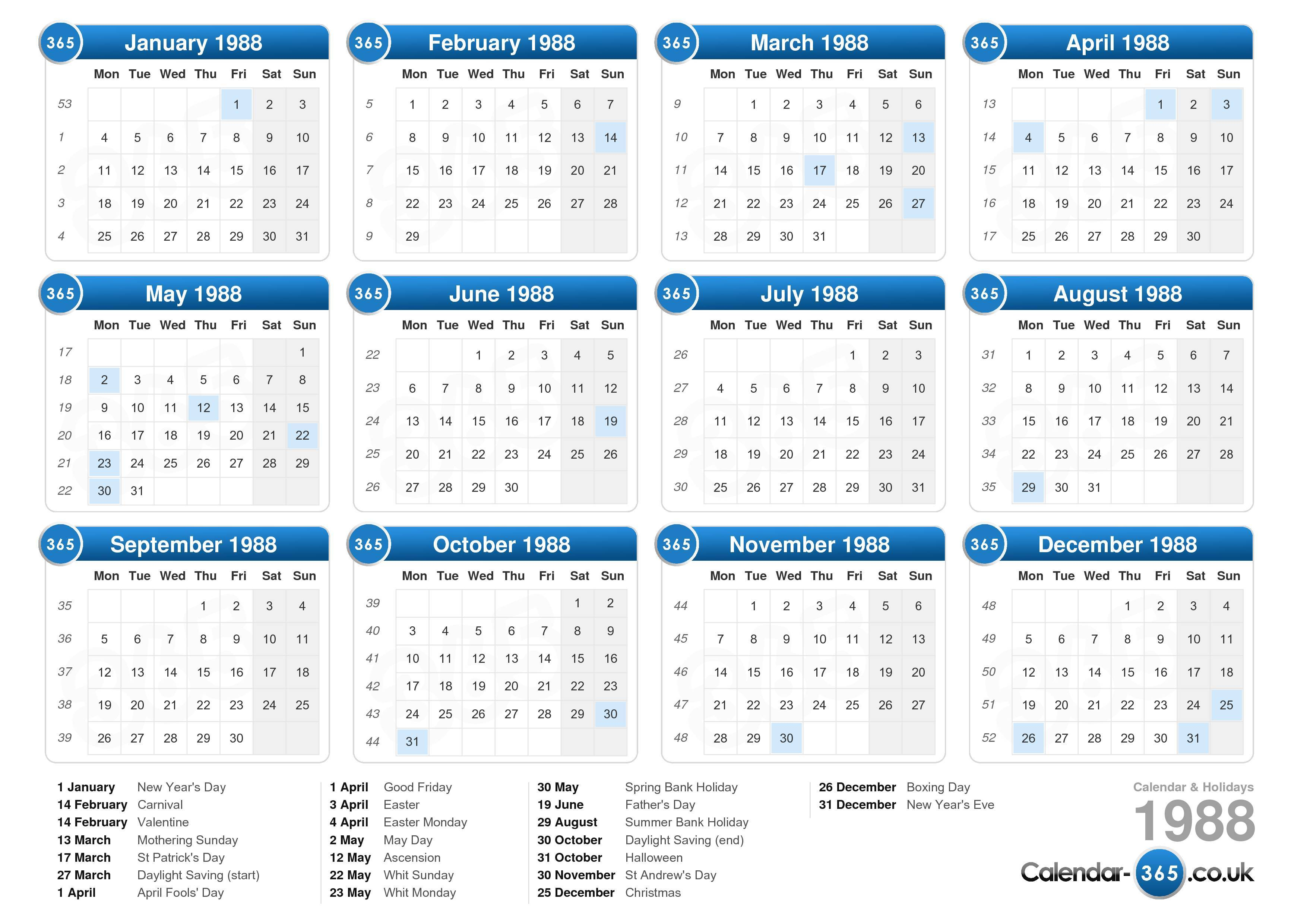 the calendar 1988 with holidays landscape format 1 page calendar ...