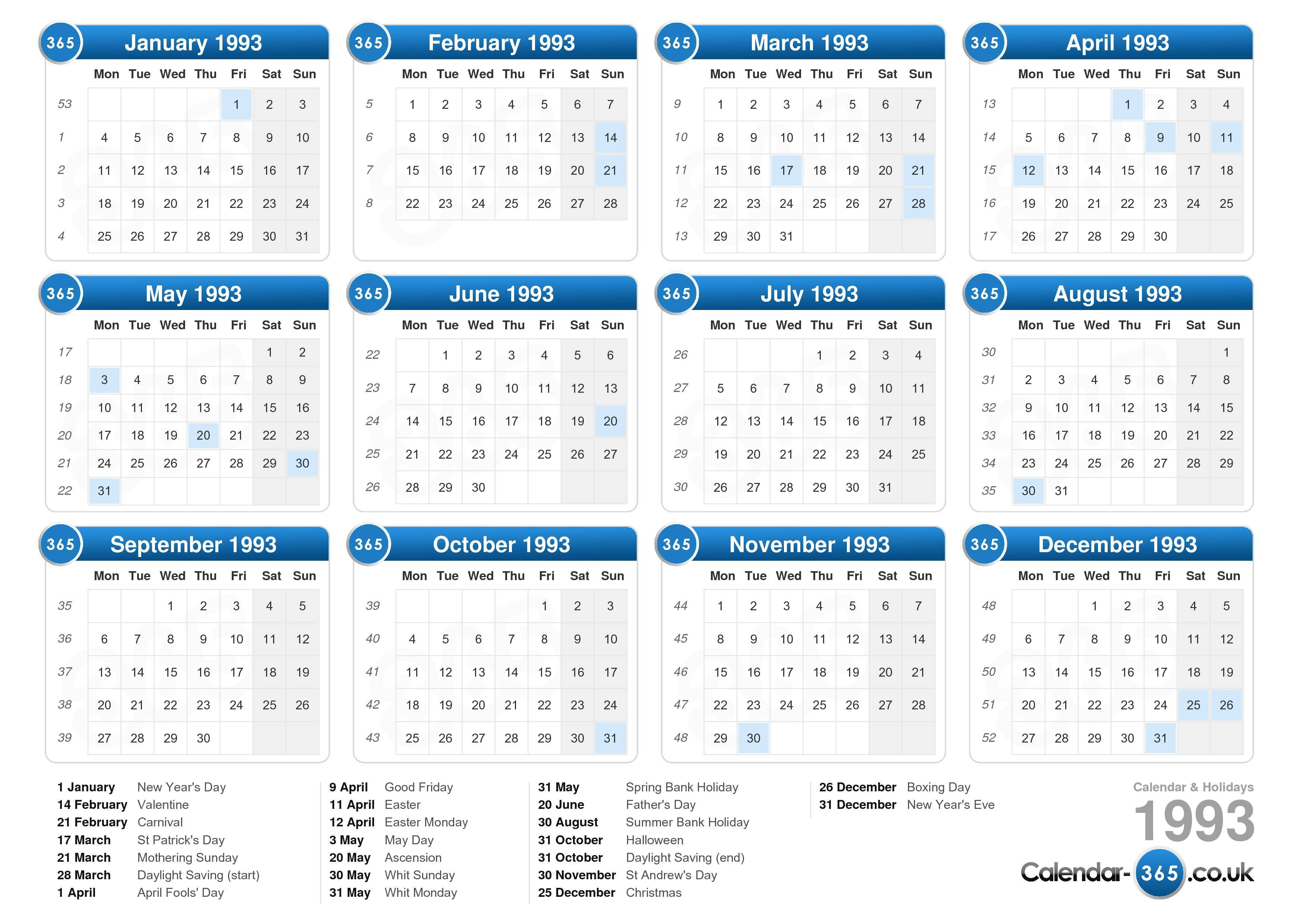 the calendar 1993 with holidays landscape format 1 page calendar ...