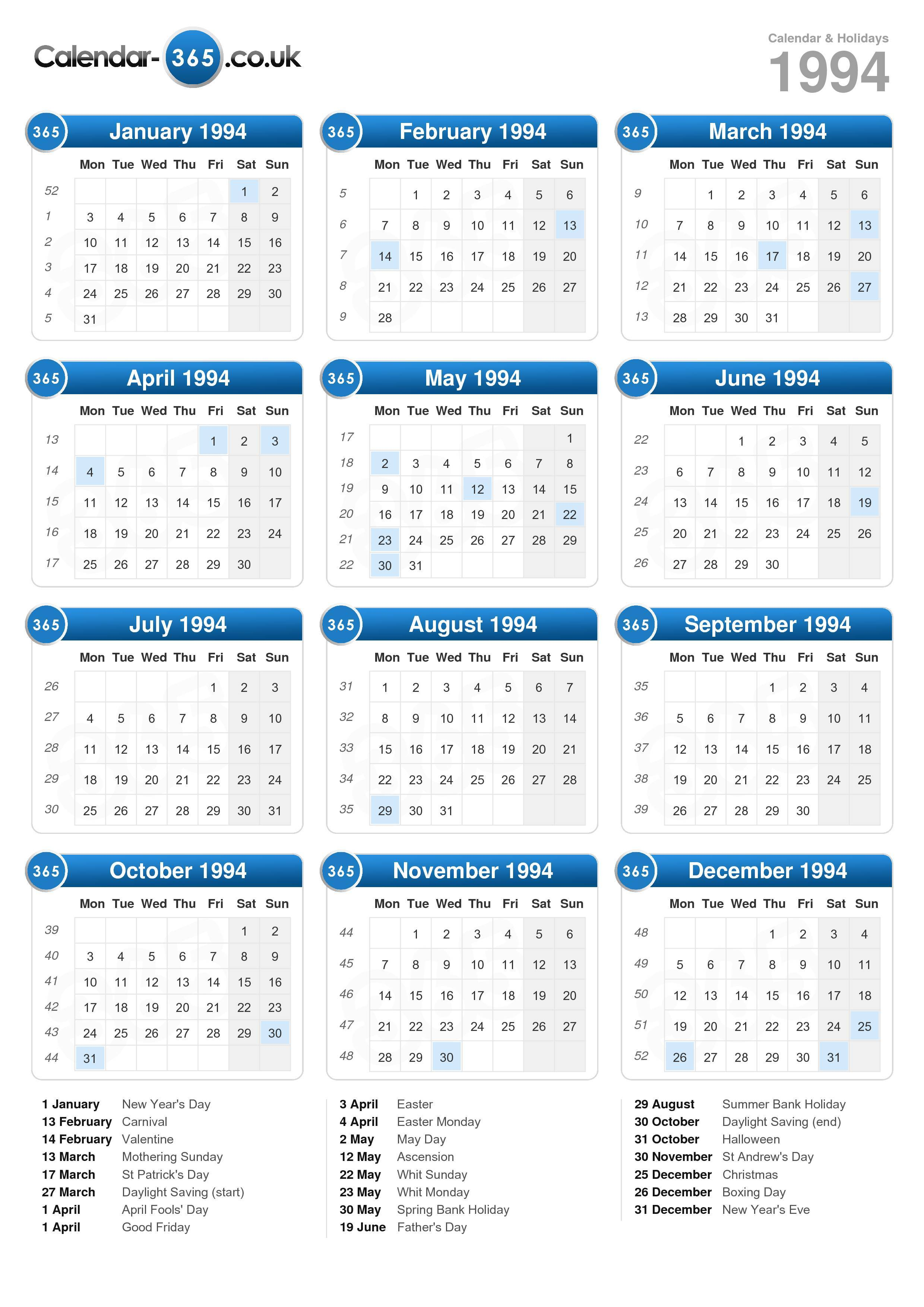 Calendar 1994