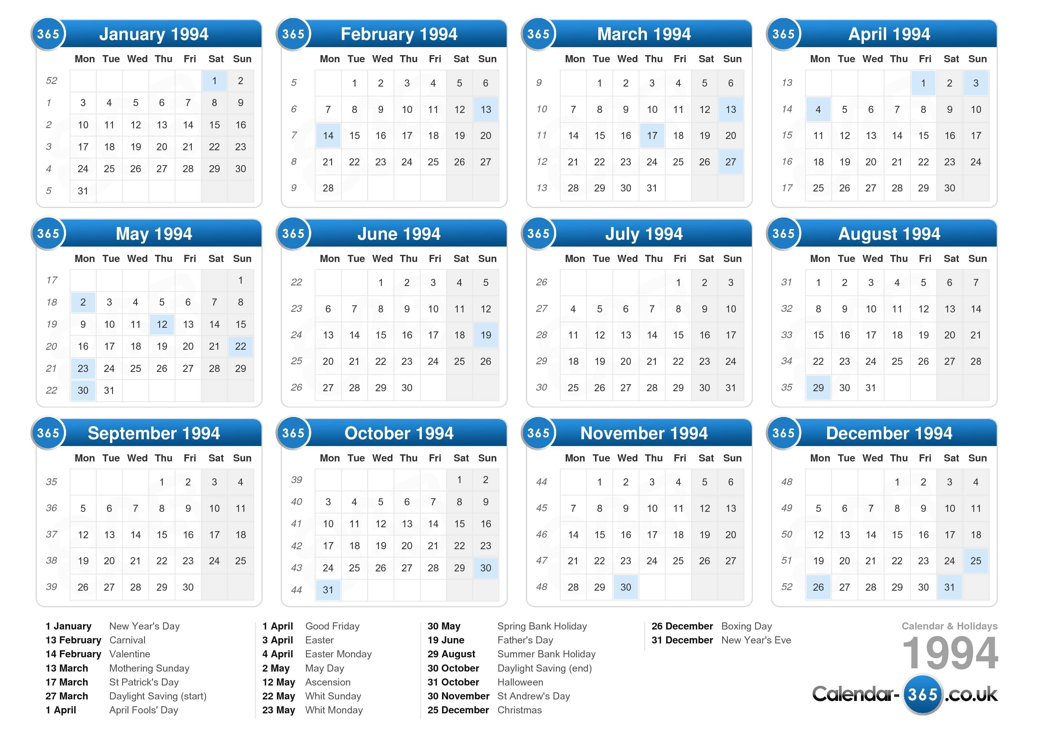 Download the Calendar 1994 with holidays . (Landscape format - 1 Page)