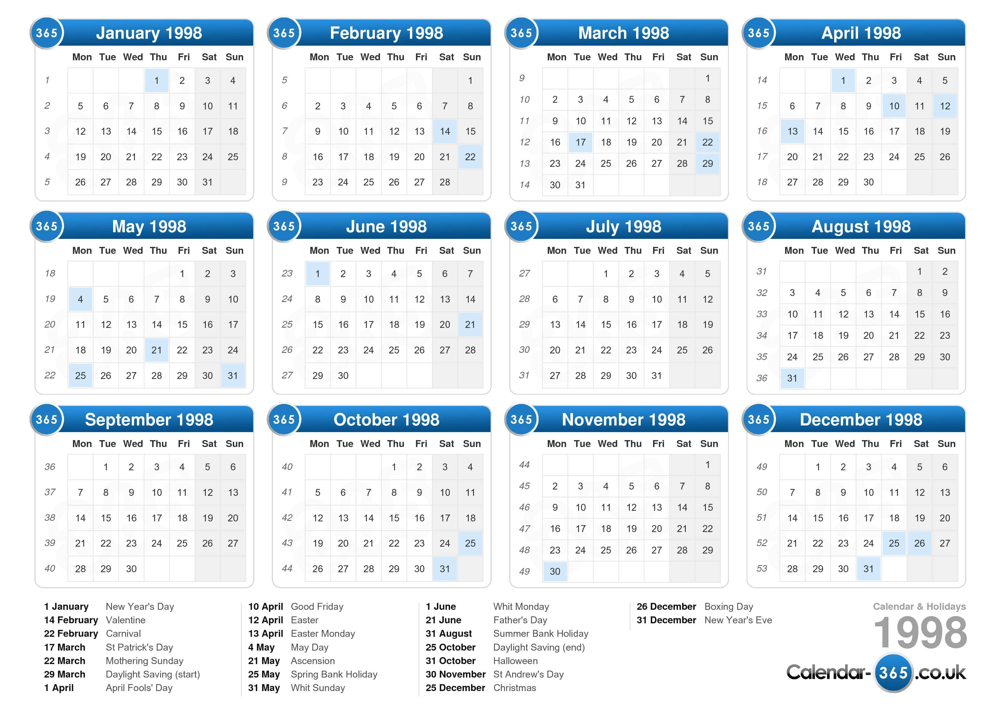 Calendar 1998