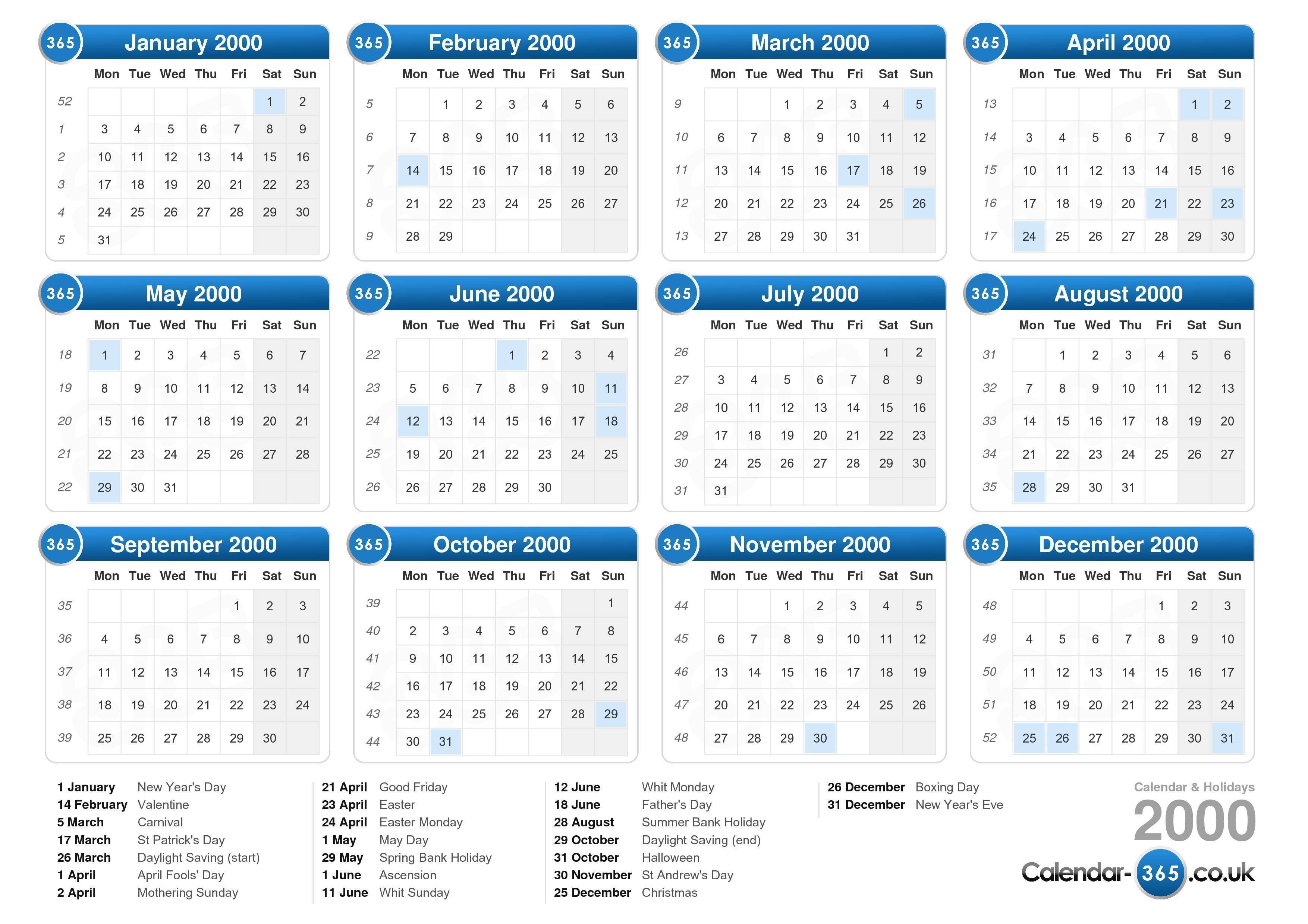 calendar 2000 with holidays landscape format 1 page calendar 2000 233 ...