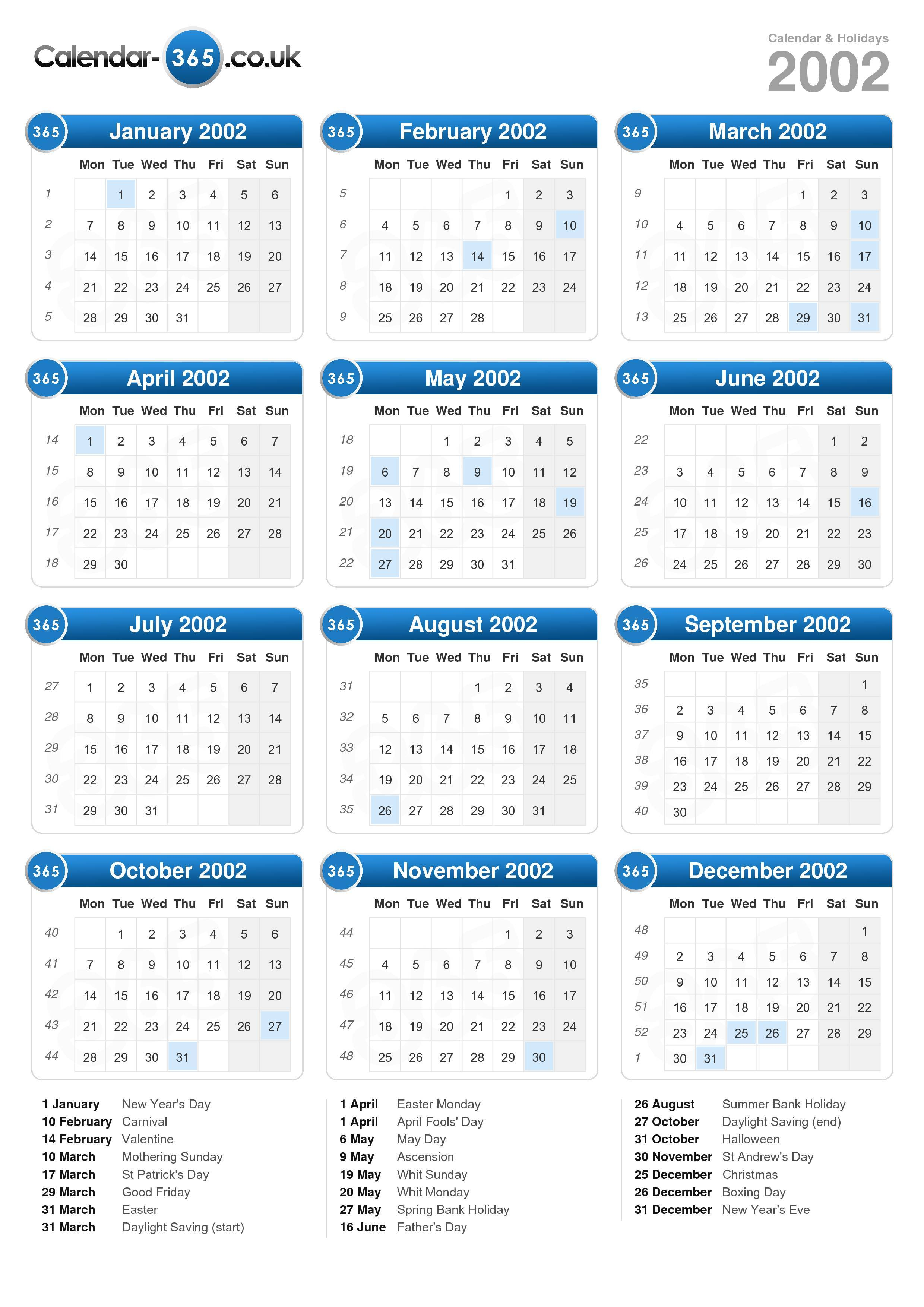 Calendar 2002 Portrait Format