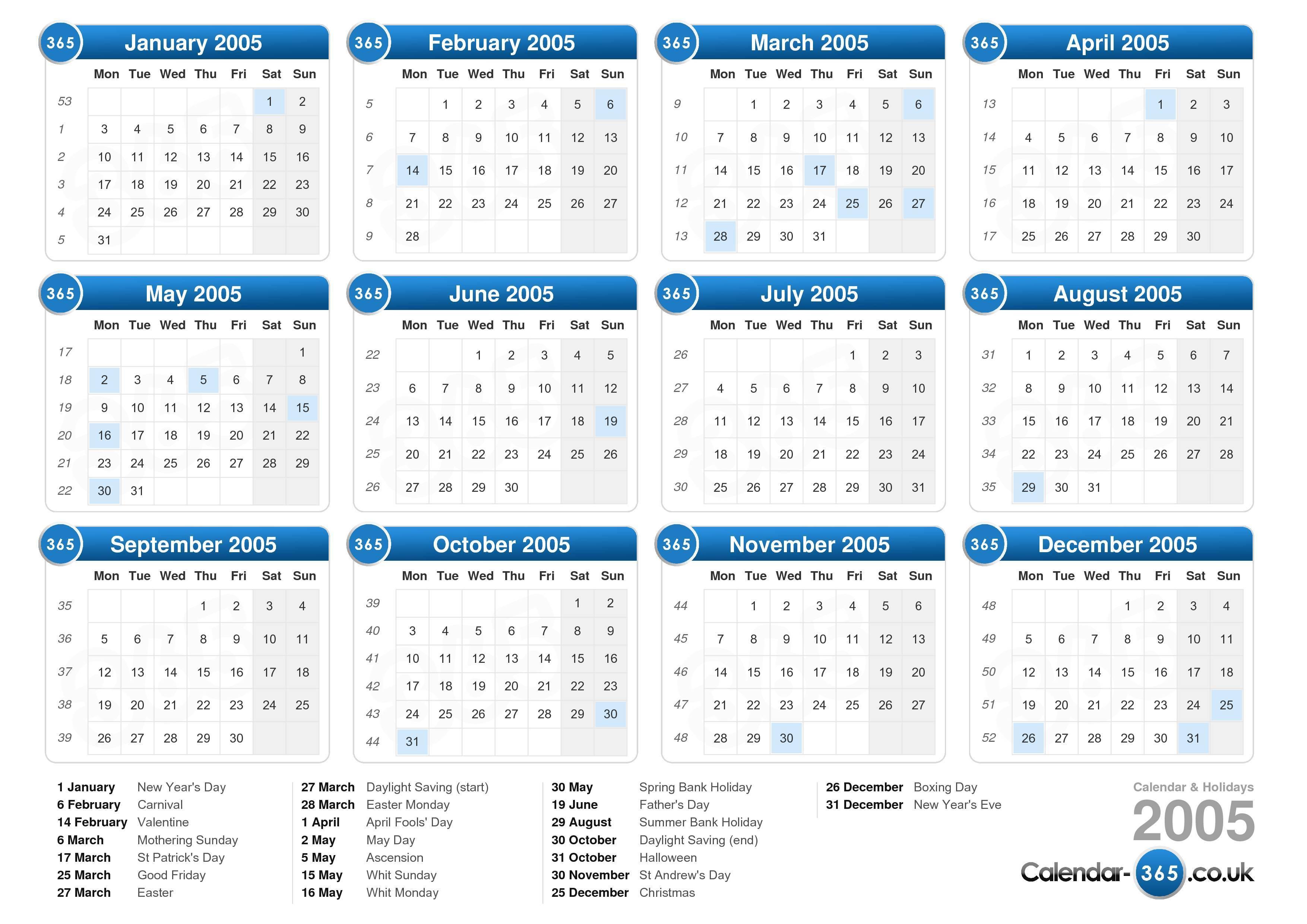 2005 calendar uk: