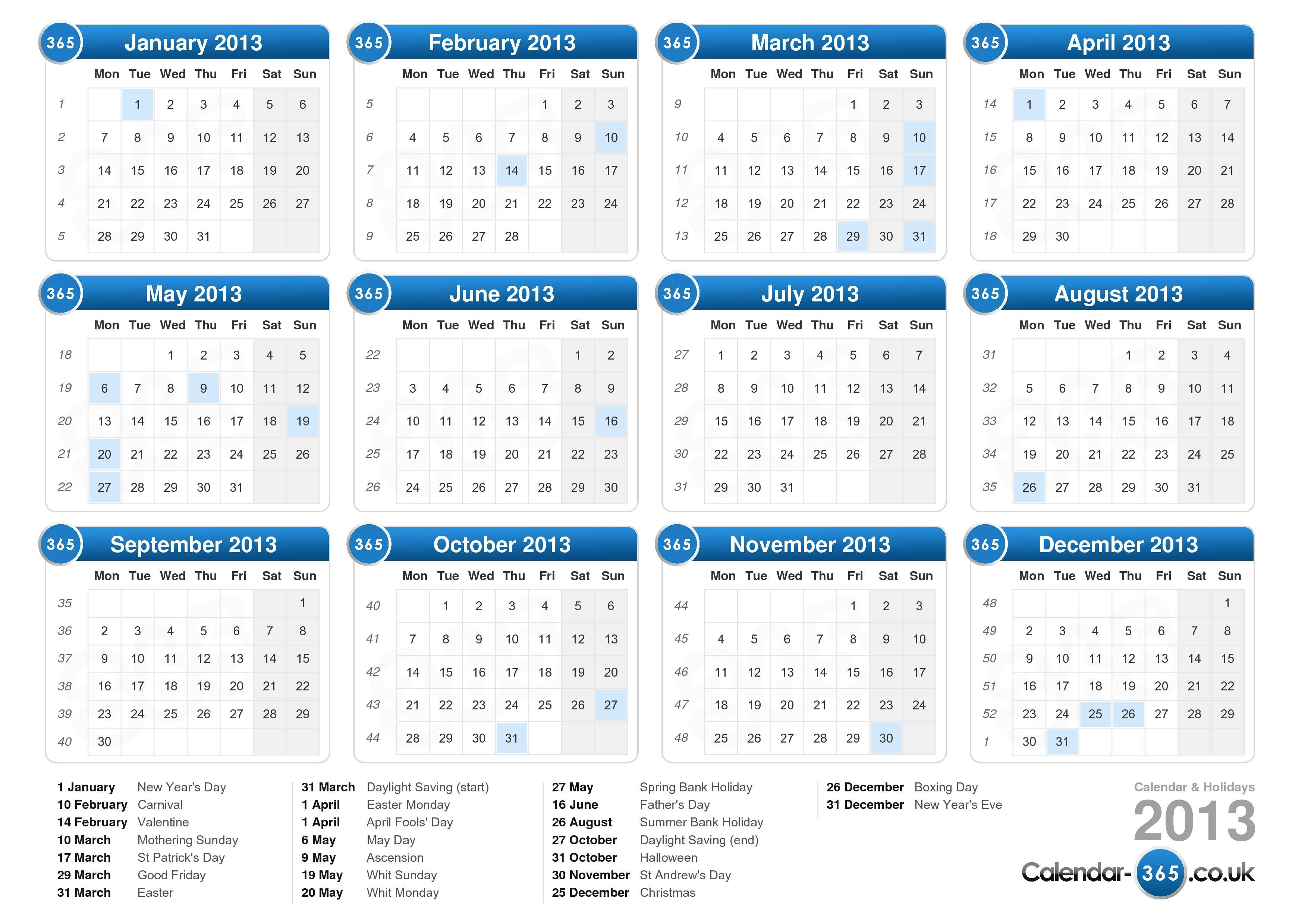 the calendar 2013 with holidays landscape format 1 page calendar 2013 ...