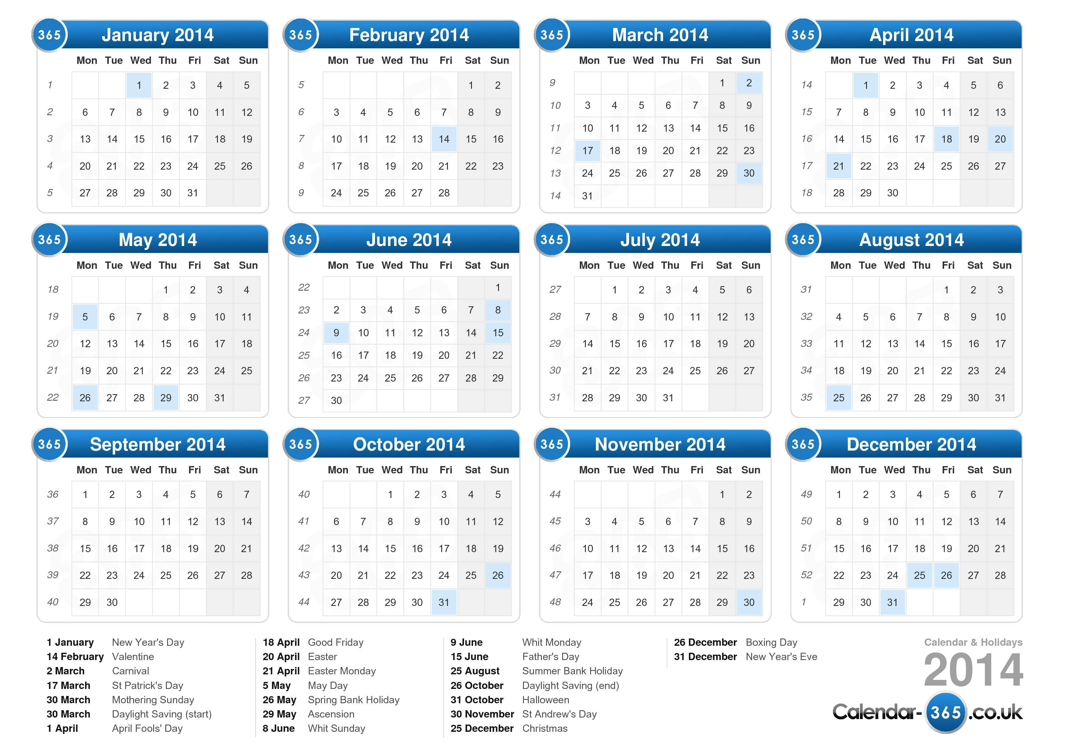 the calendar 2014 with holidays landscape format 1 page calendar 2014 ...