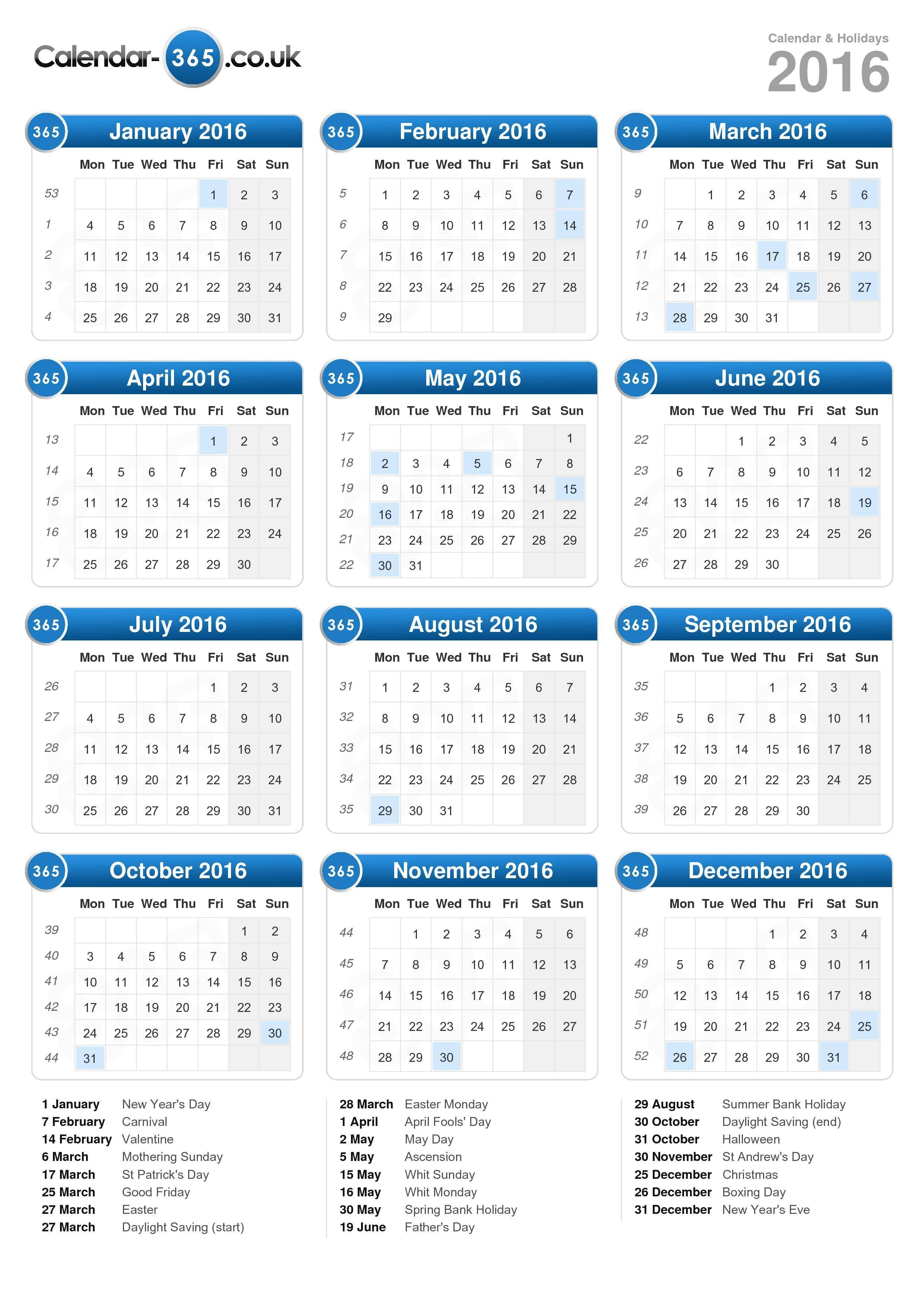 Calendar 2016 (portrait format)