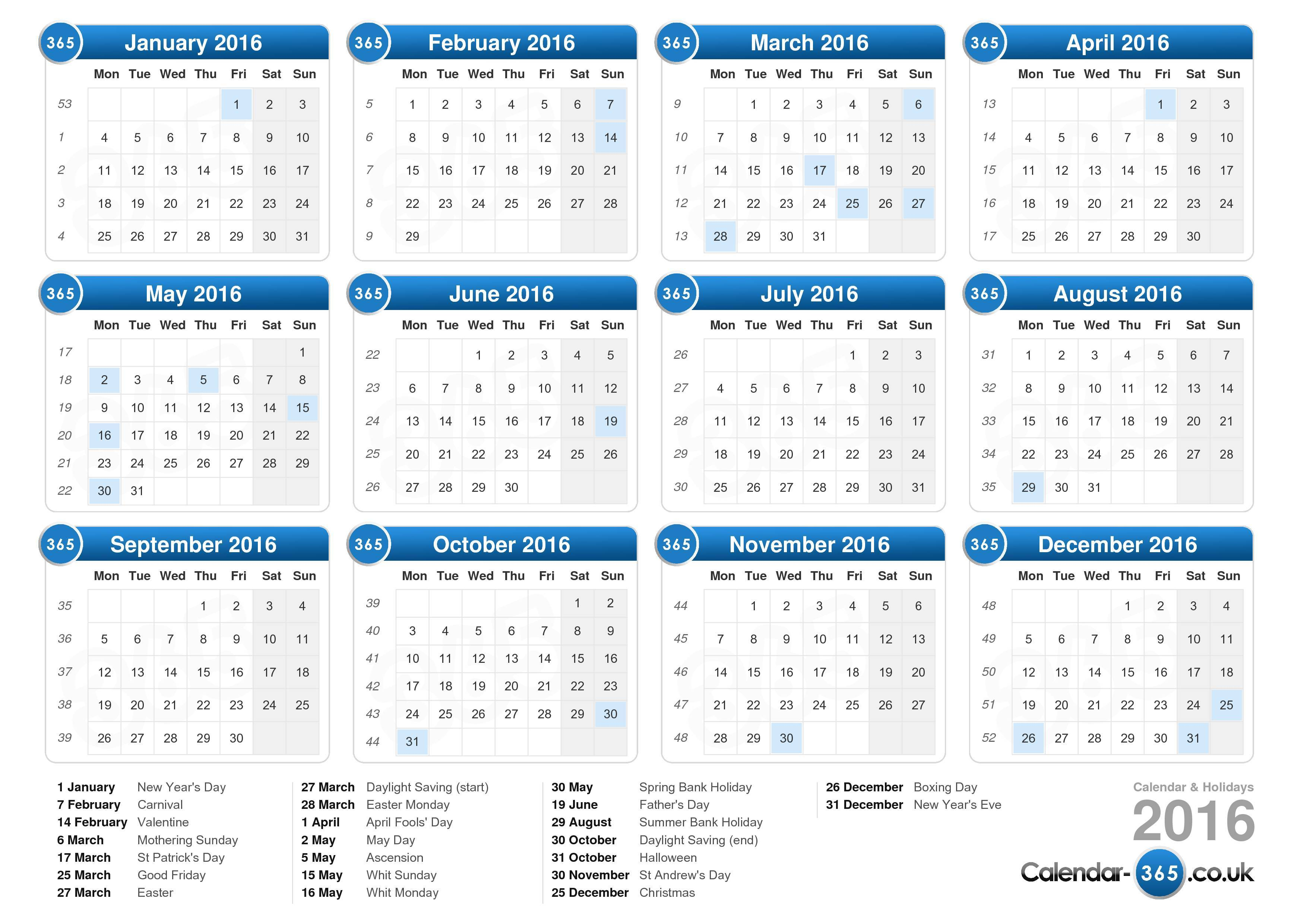 Download the Calendar 2016 with holidays . (Landscape format - 1 Page)