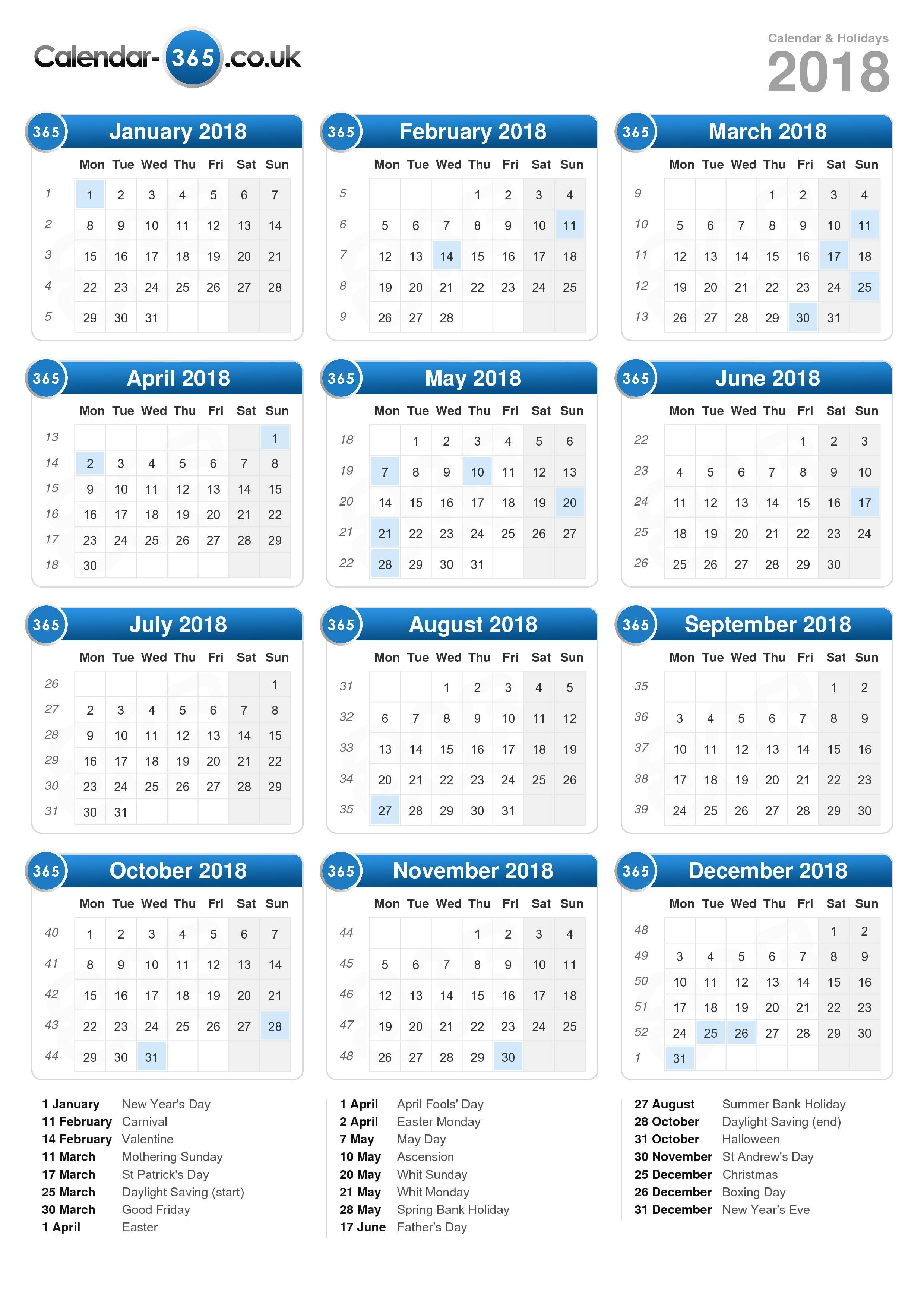 Download the Calendar 2018 with holidays . (Portrait format - 1 Page)