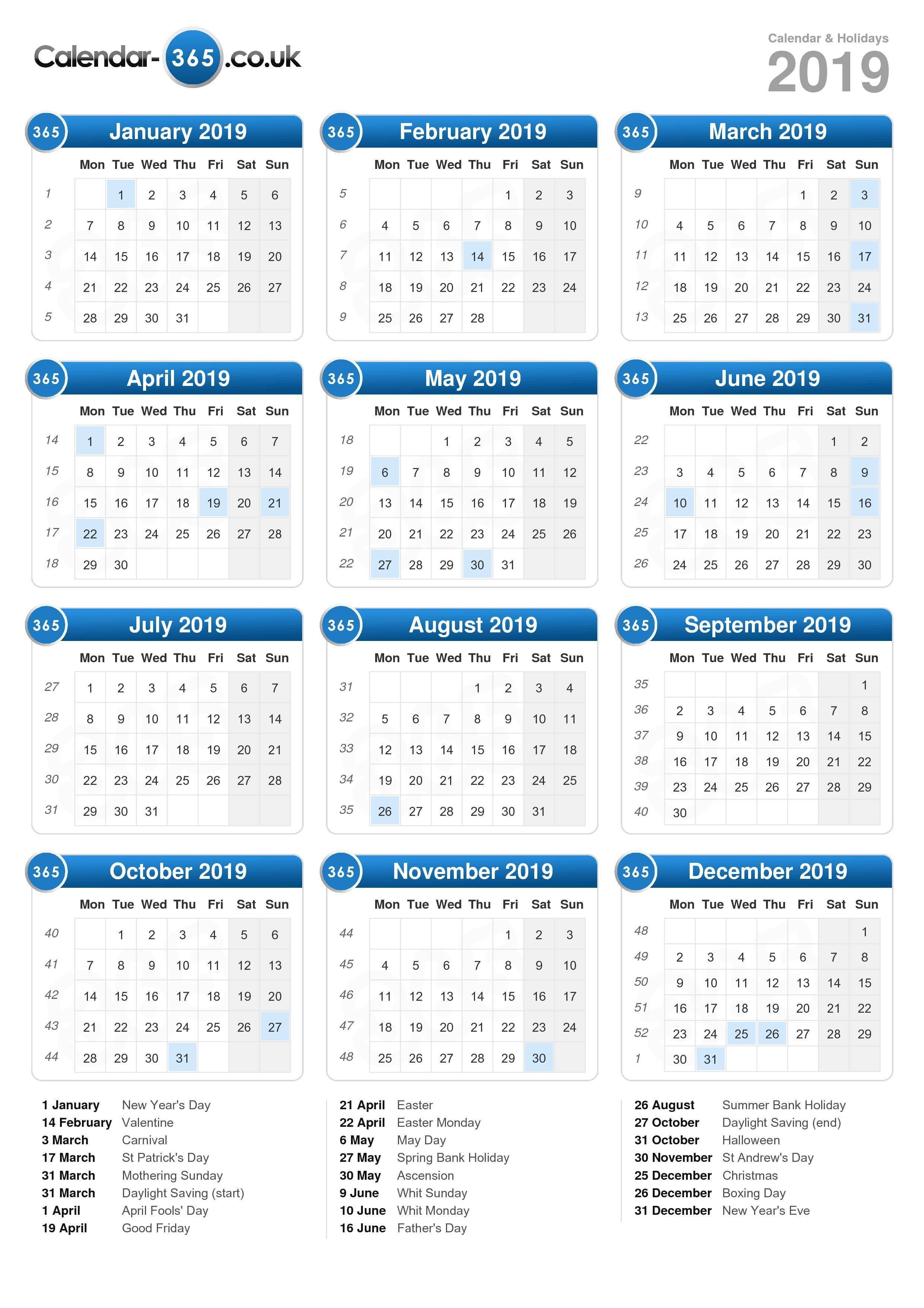 calendar pages to print