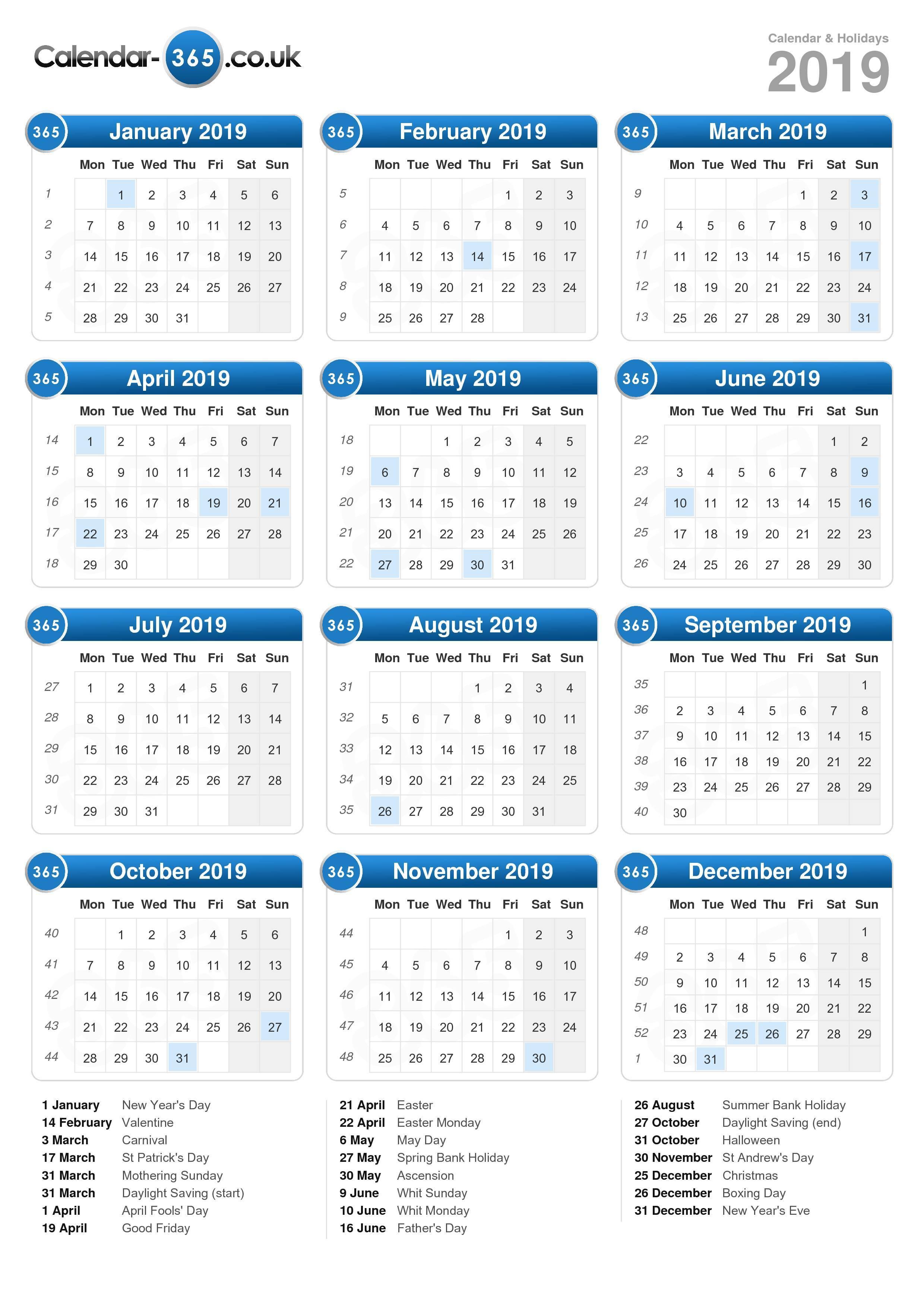 calendar 2019 portrait format