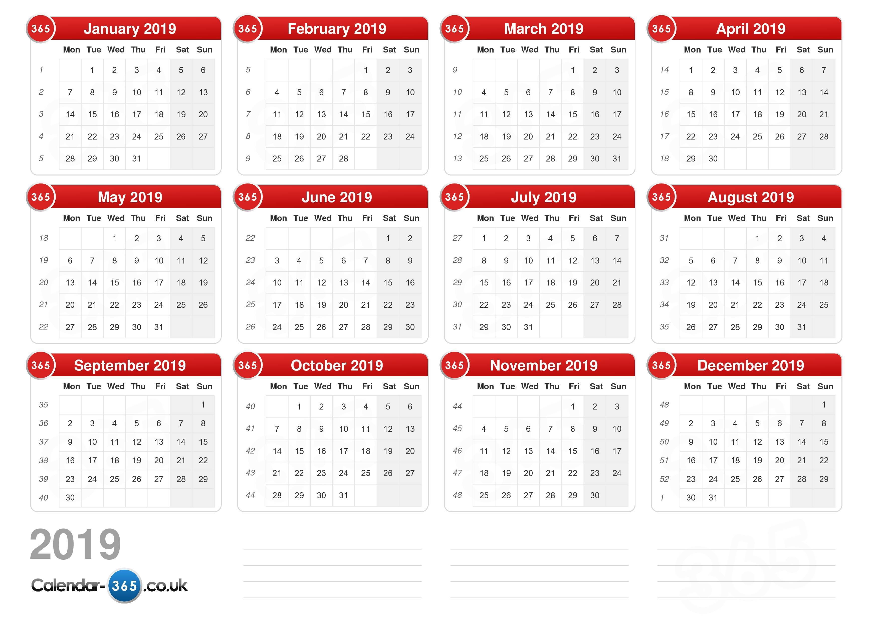 Calendar 2019 Uk Calendar 2019