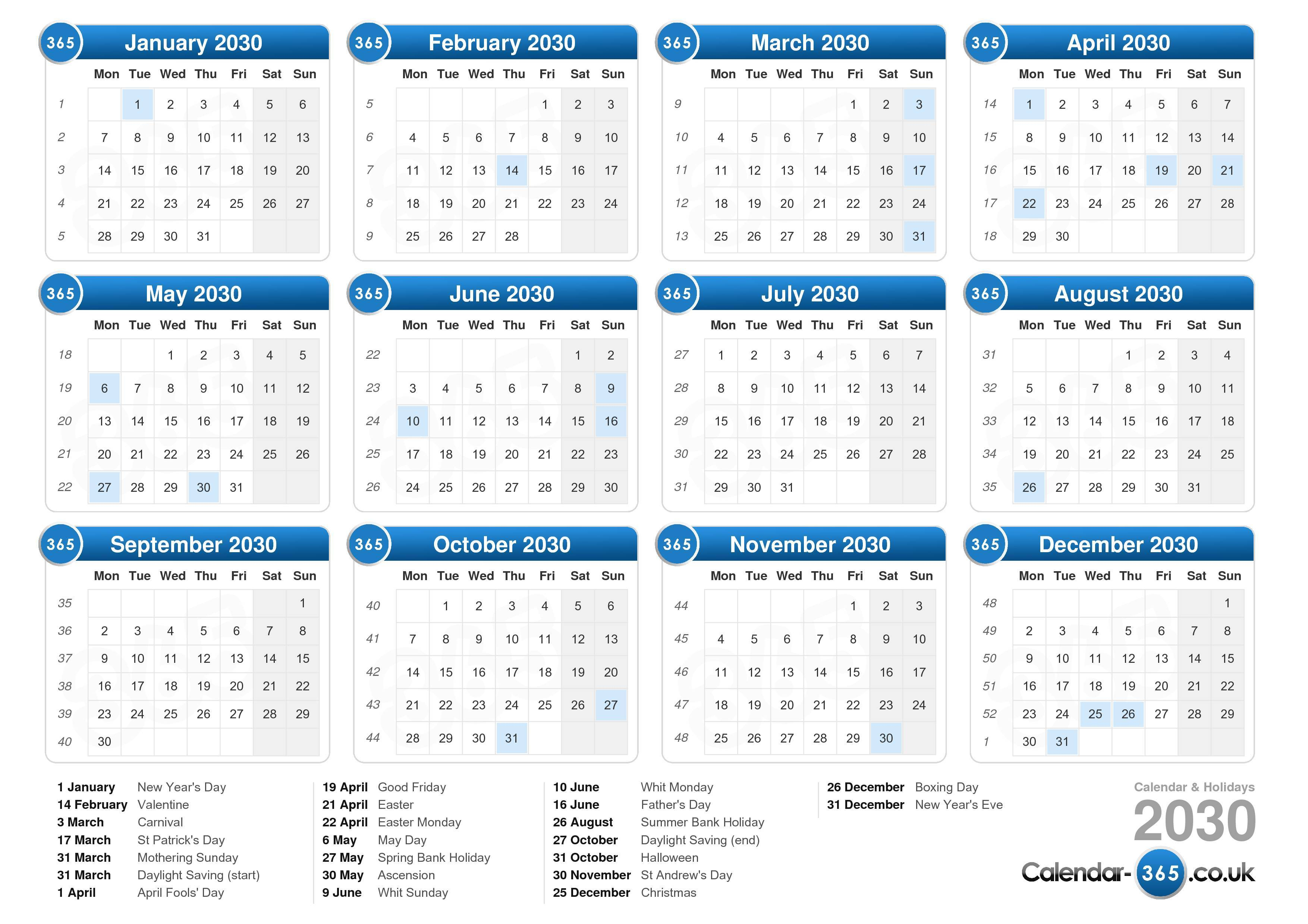 the calendar 2030 with holidays landscape format 1 page calendar ...