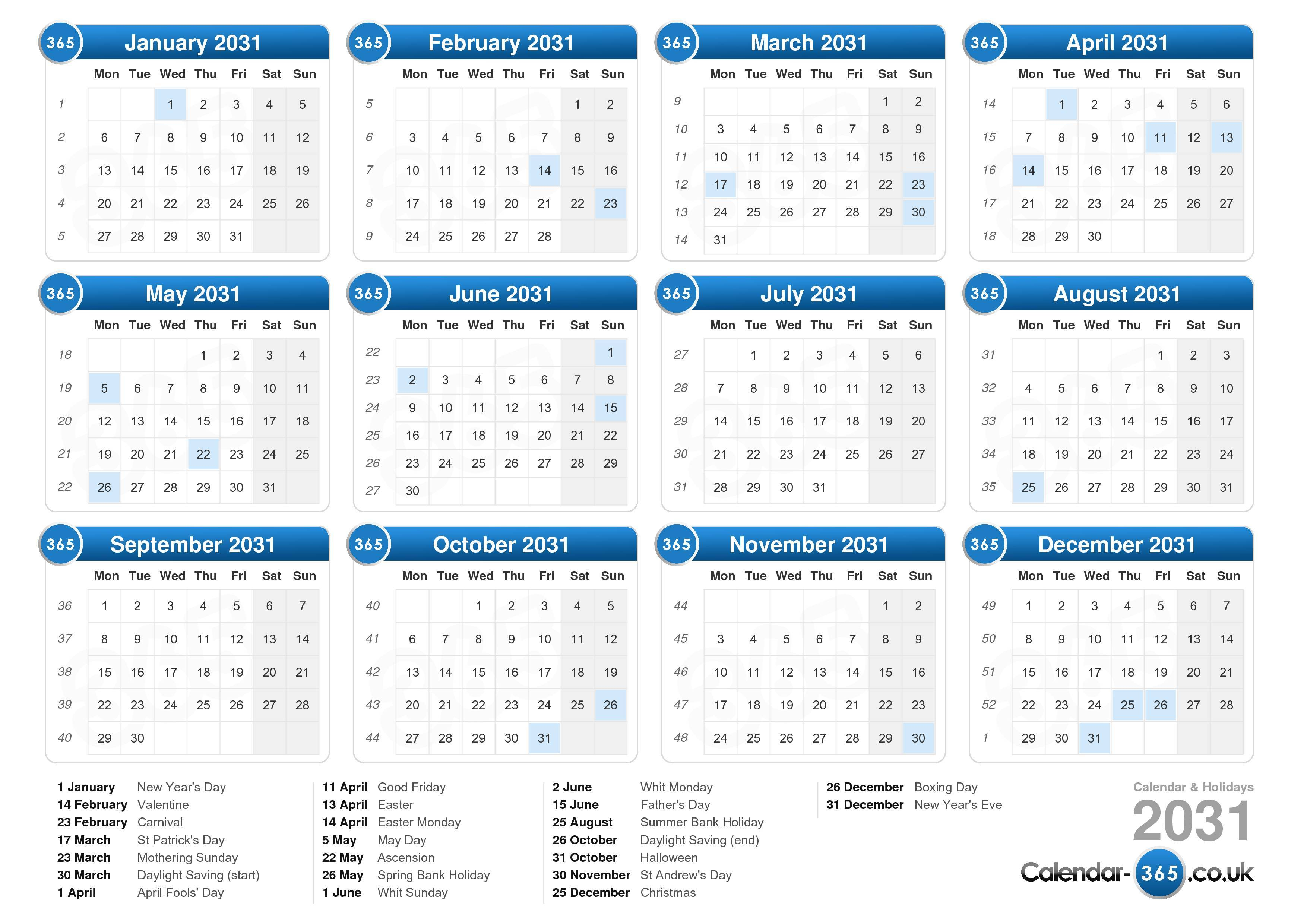 the calendar 2031 with holidays landscape format 1 page calendar ...