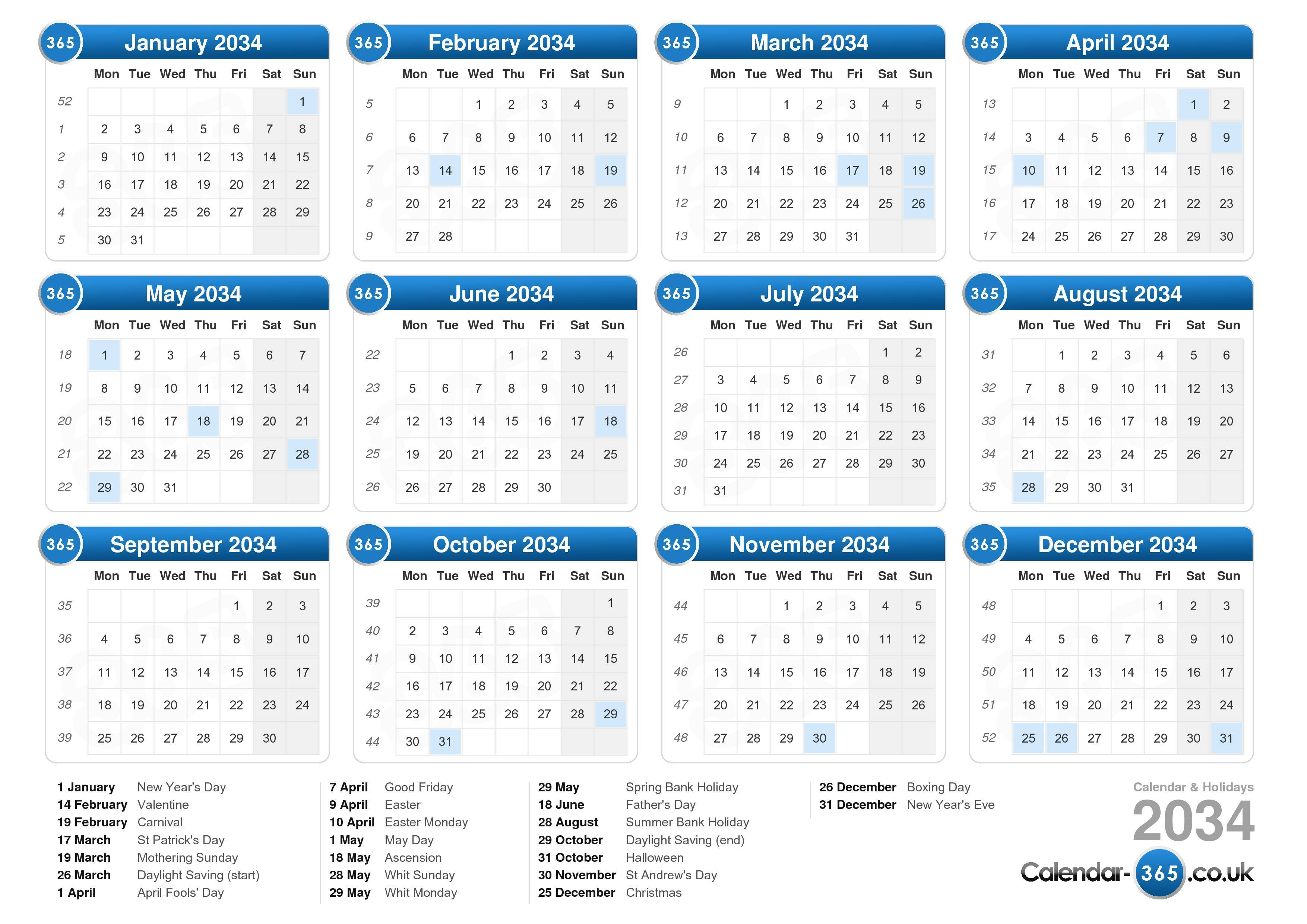 Download the printable Calendar with Holidays 2034