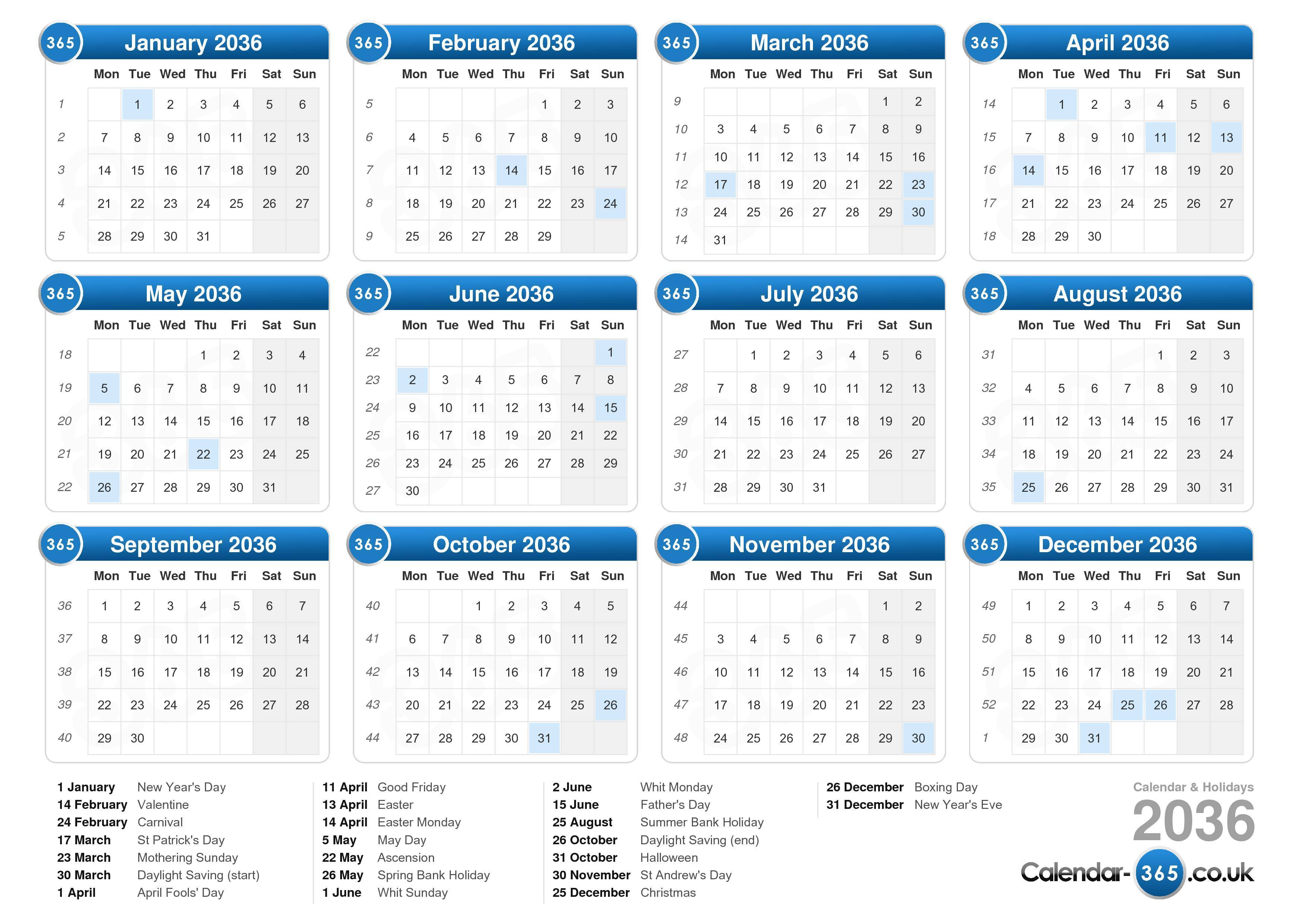 Download the printable Calendar with Holidays 2036