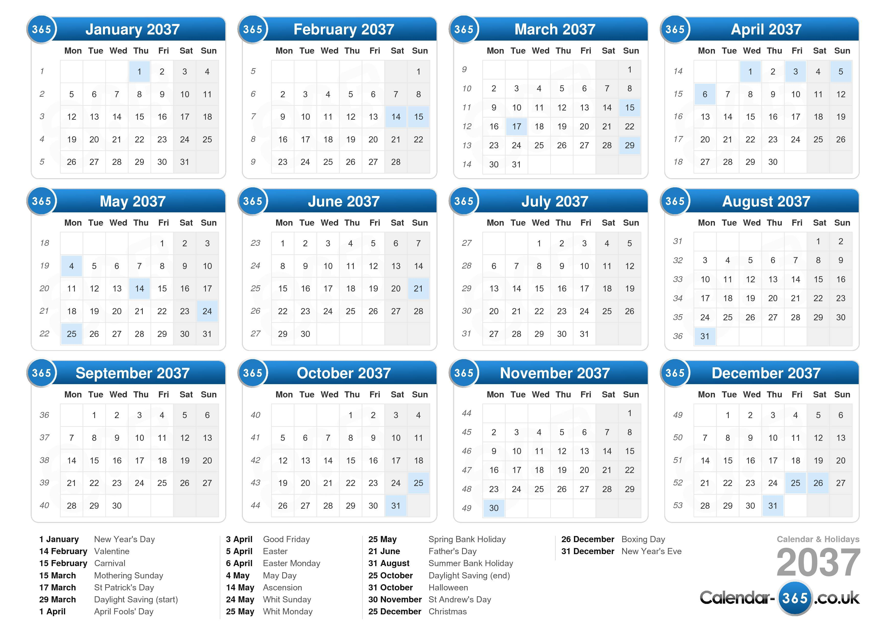Download the printable Calendar with Holidays 2037