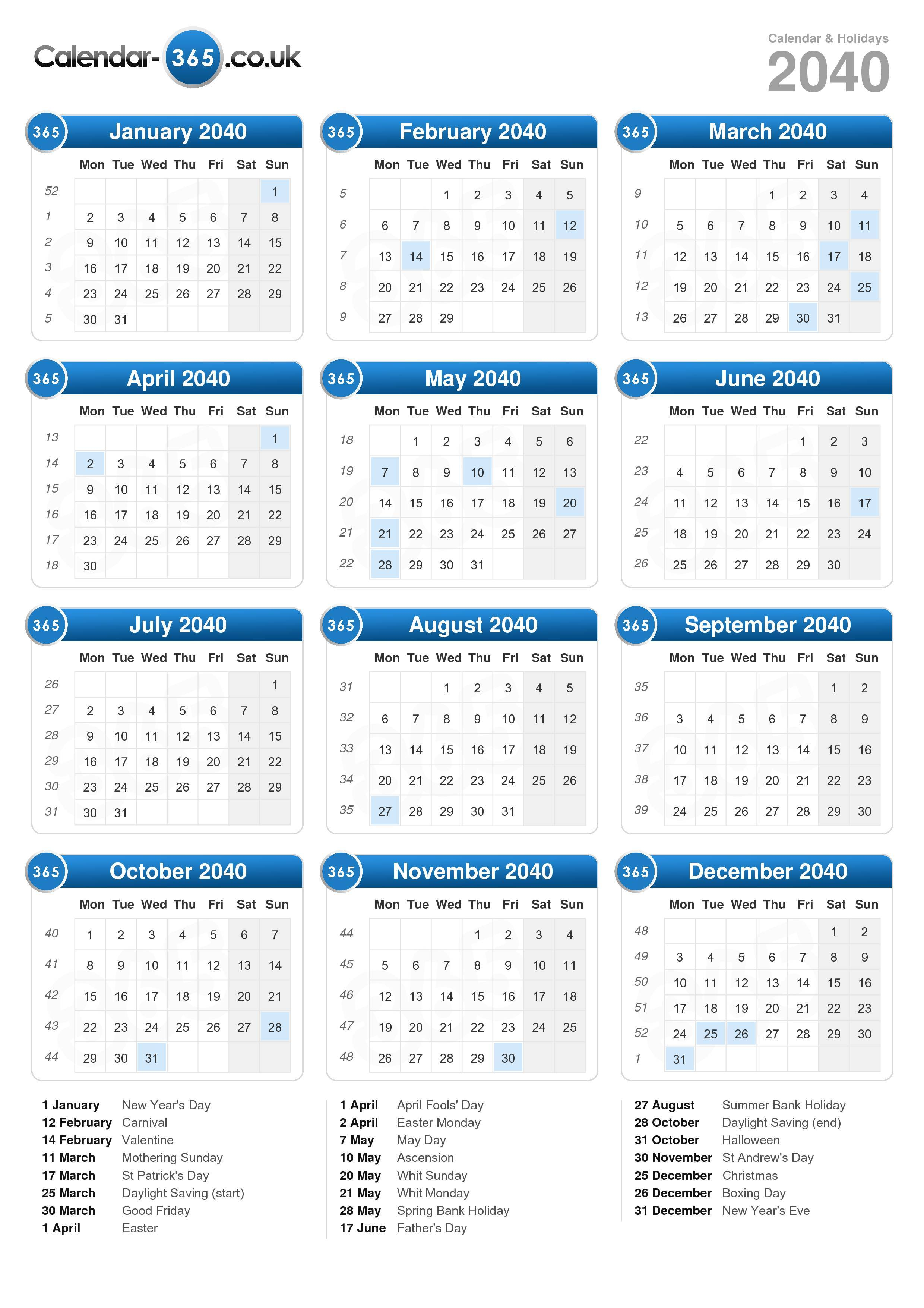 Download the Calendar 2040 with holidays . (Portrait format - 1 Page)