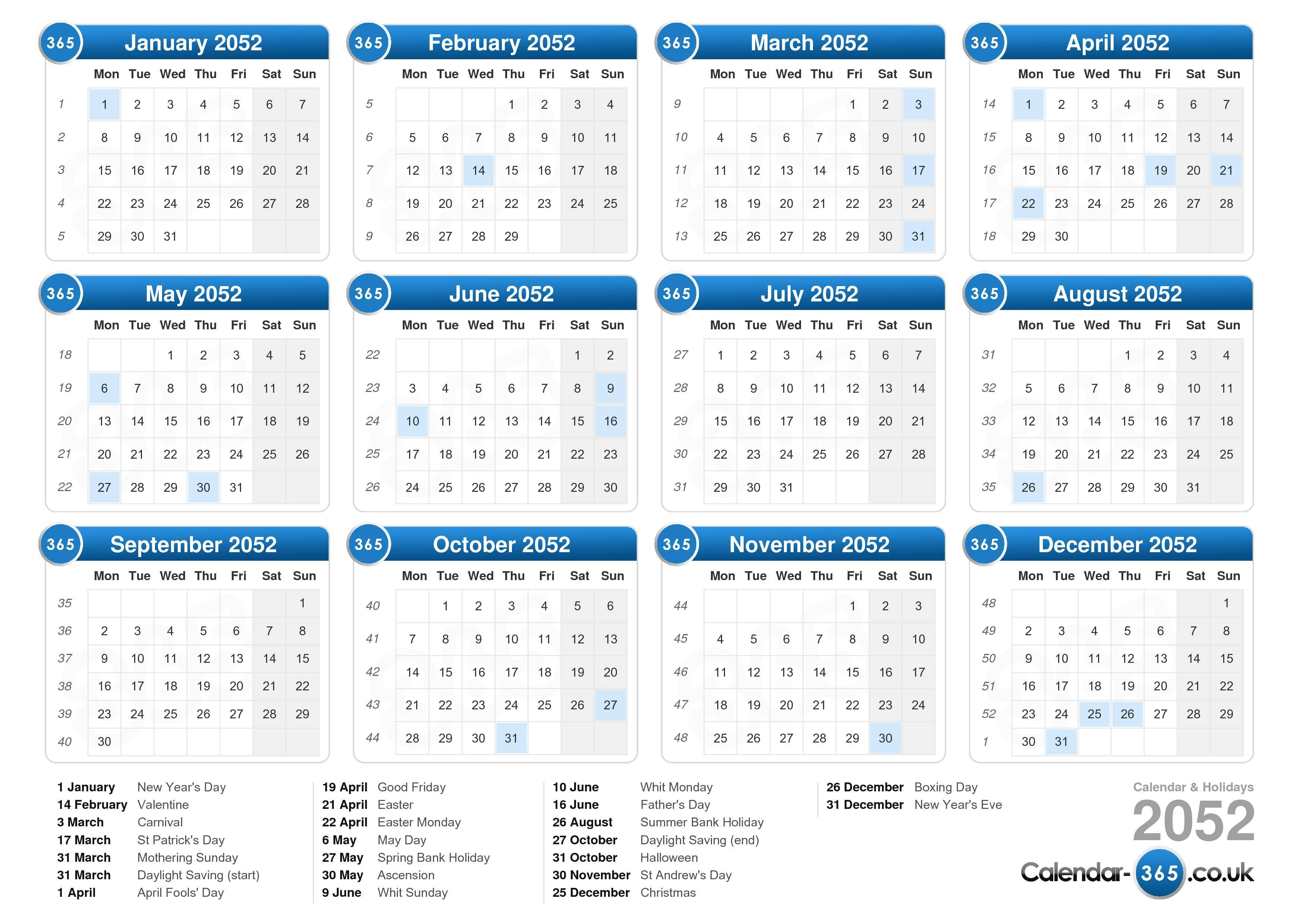 the calendar 2052 with holidays landscape format 1 page calendar ...