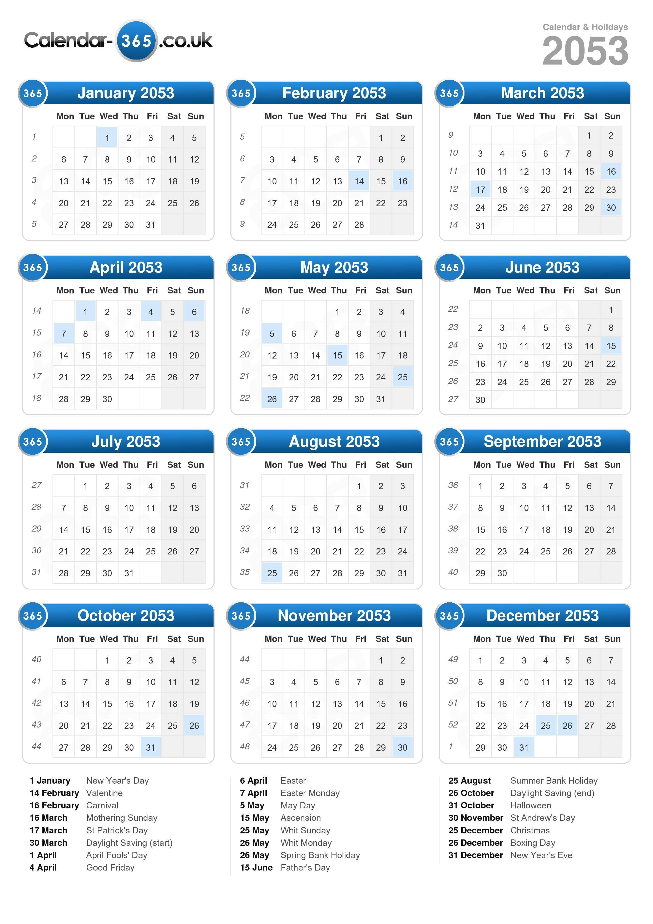 Calendar 2053 (portrait format)