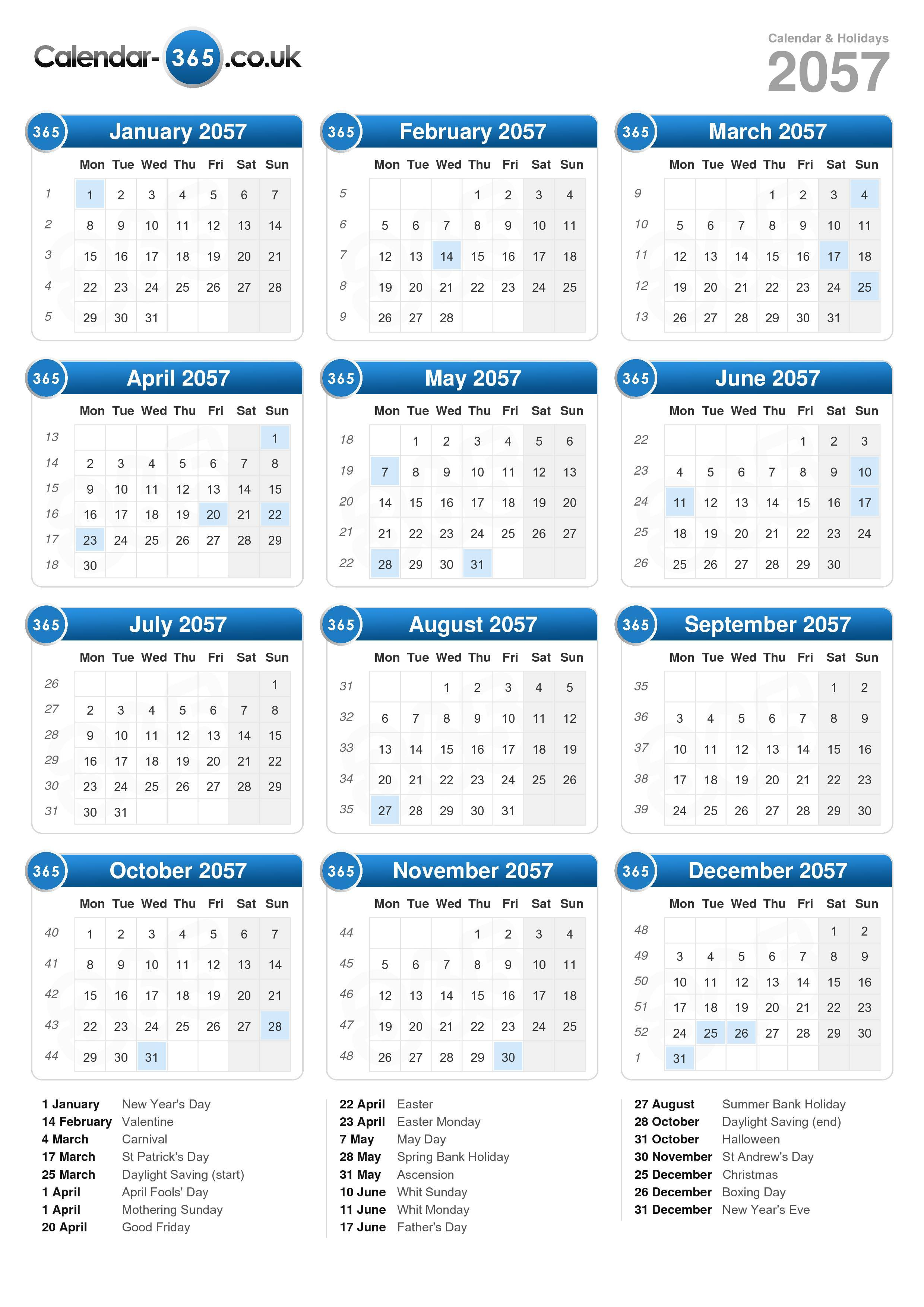 Download the calendar 2057 with holidays portrait format 1 page