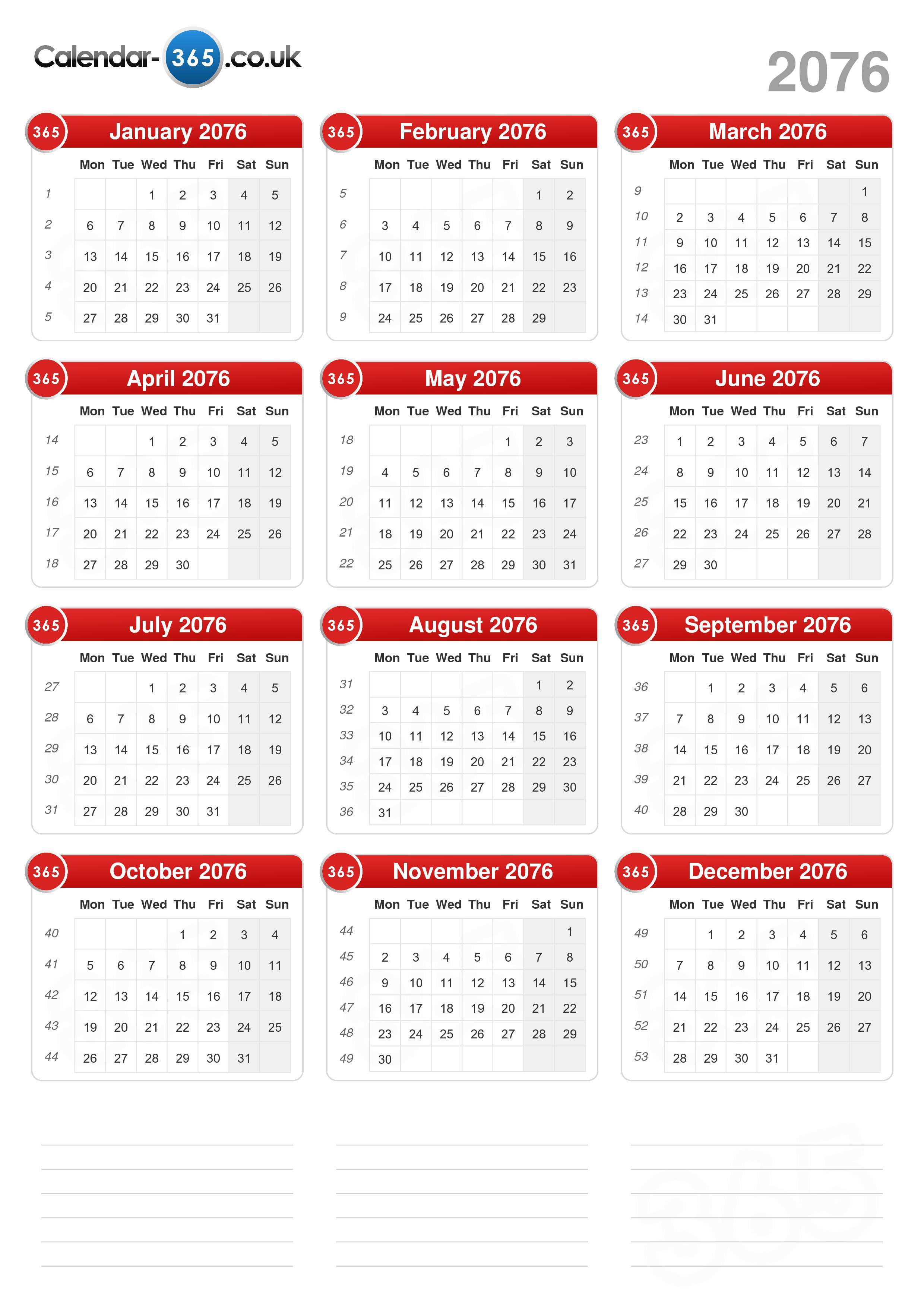 Download the printable calendar 2076 with holidays.