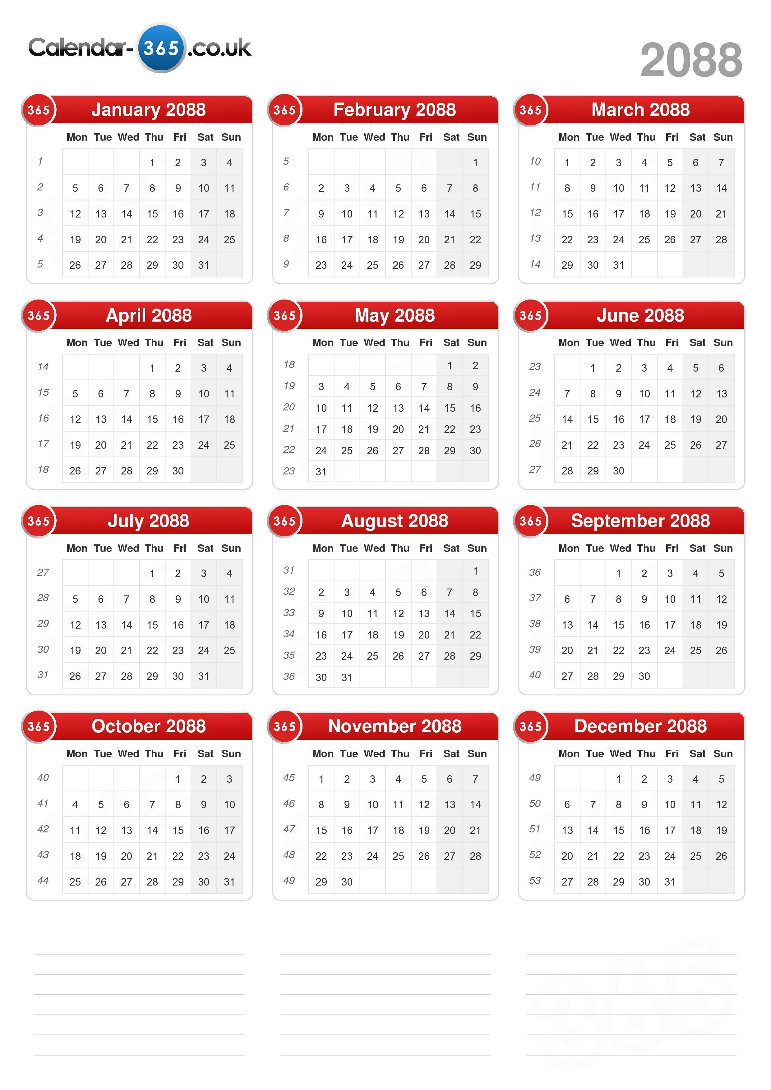 Download the calendar 2088 without holidays portrait format 1
