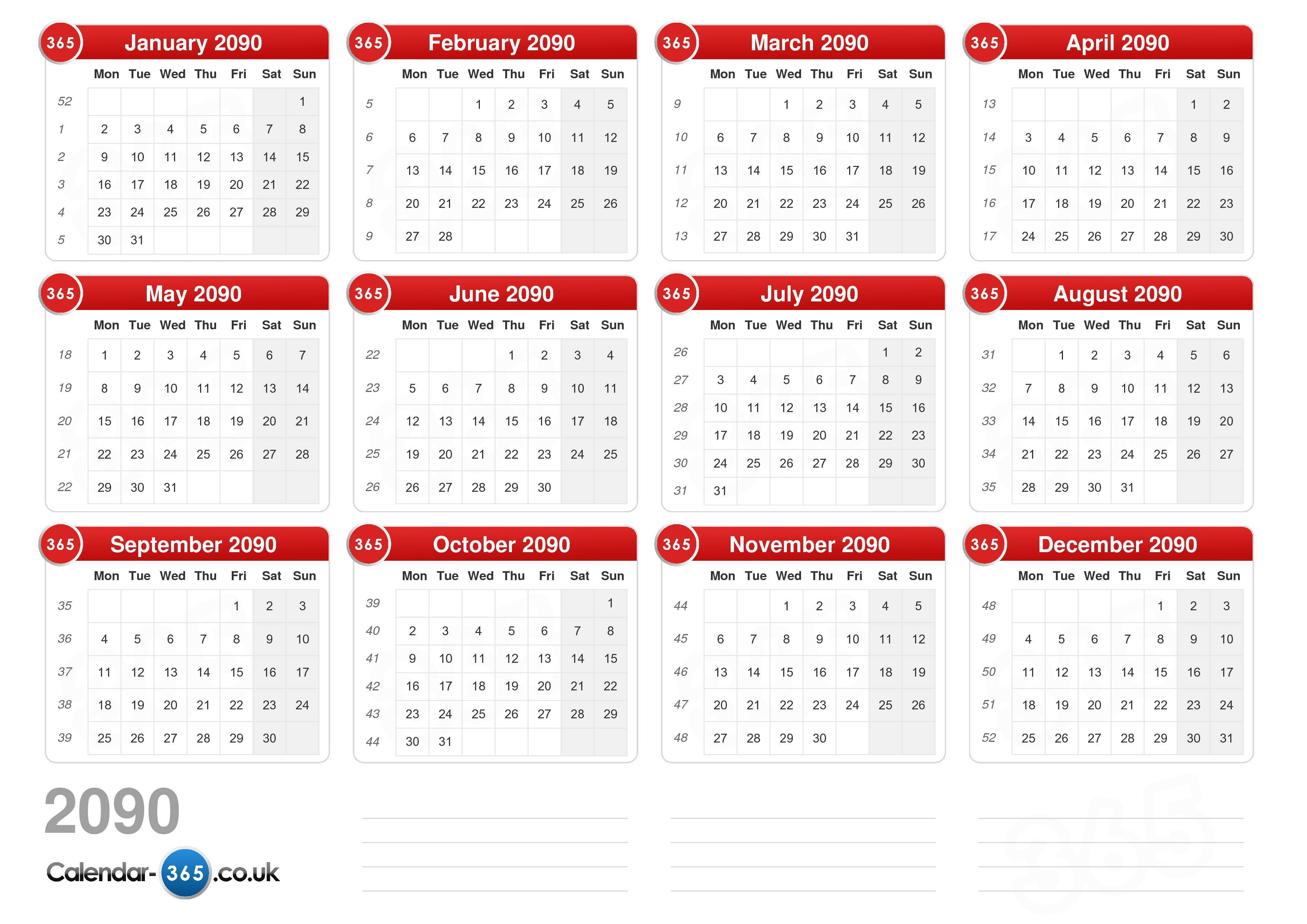 Download the printable calendar 2090 with holidays.