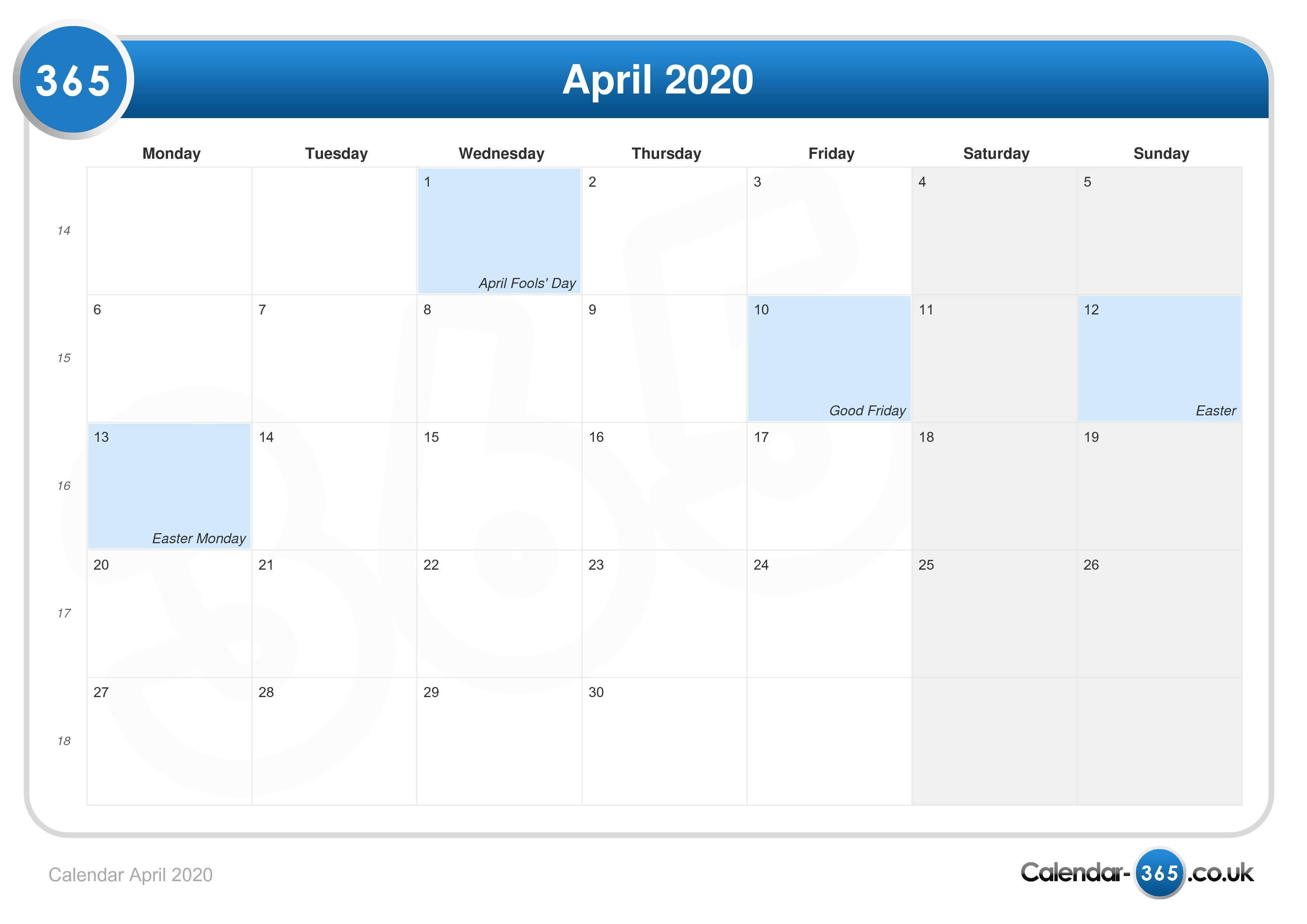 Easter Calendar 2020 Calendar April 2020