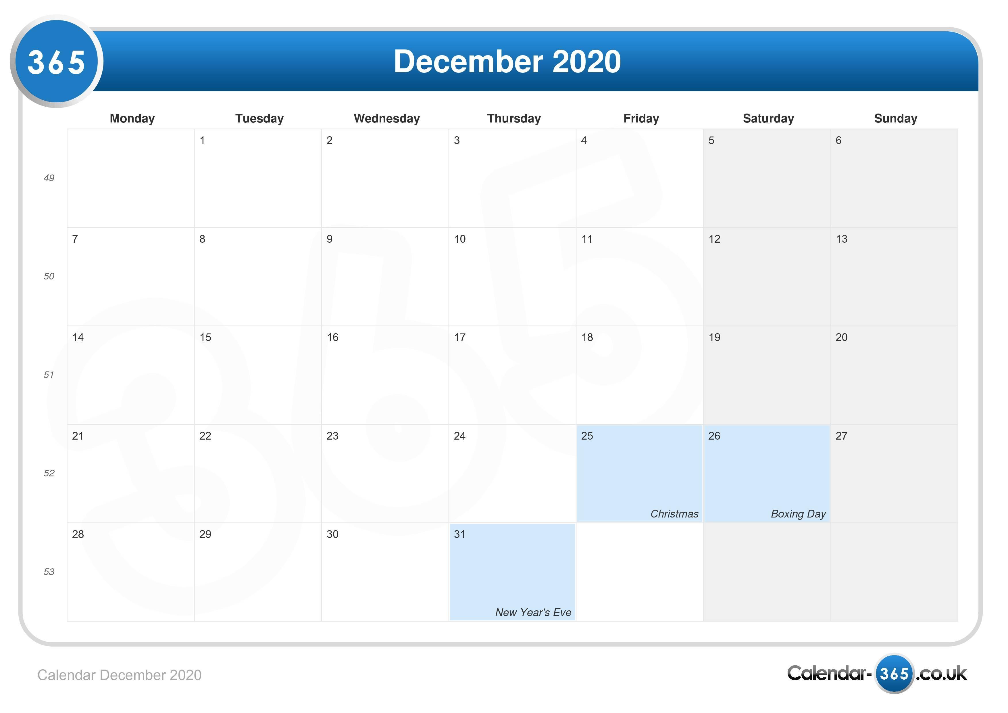 16th December 2020 Calendar Calendar December 2020