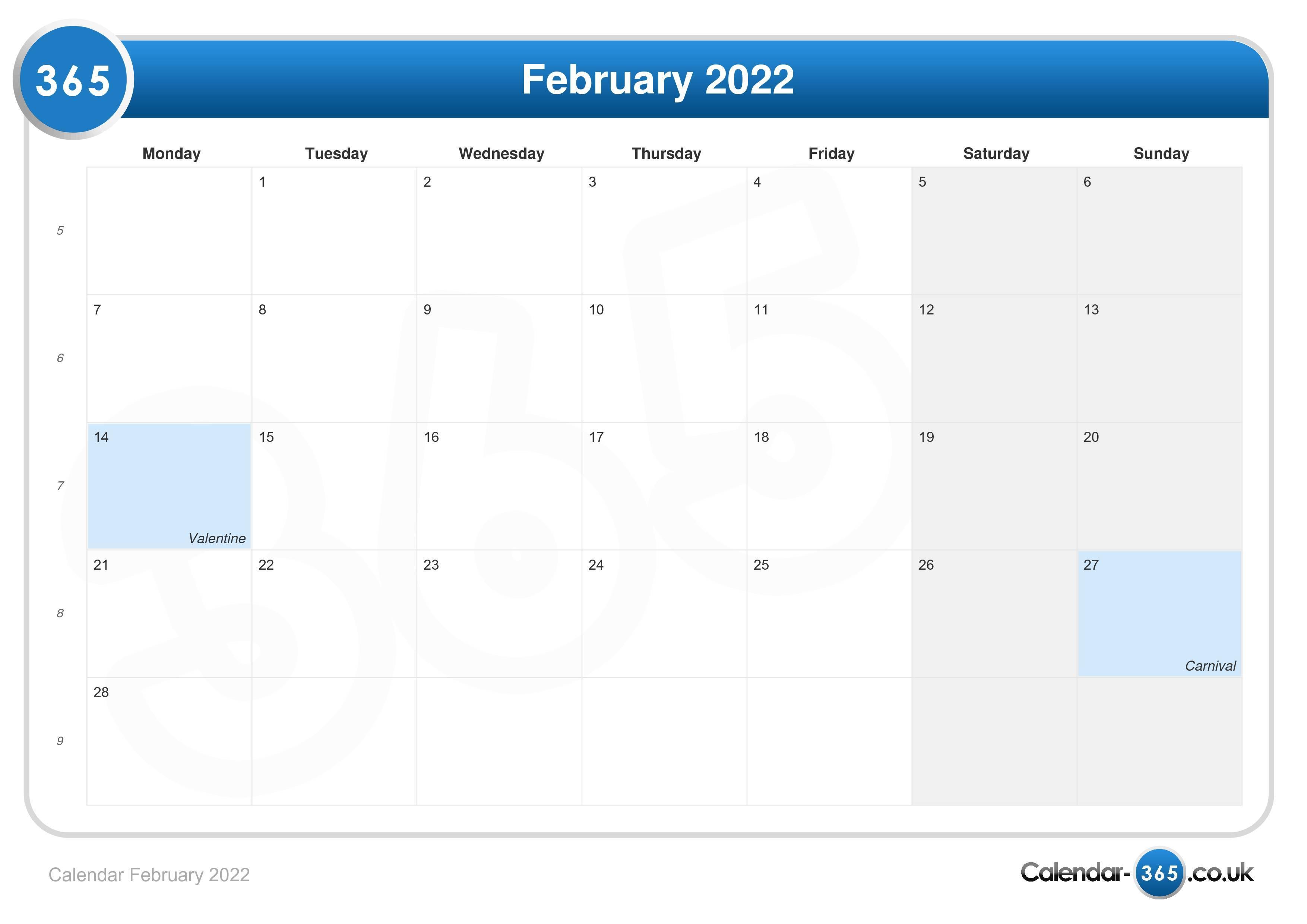 Uf Summer 2022 Calendar.Calendar February 2022