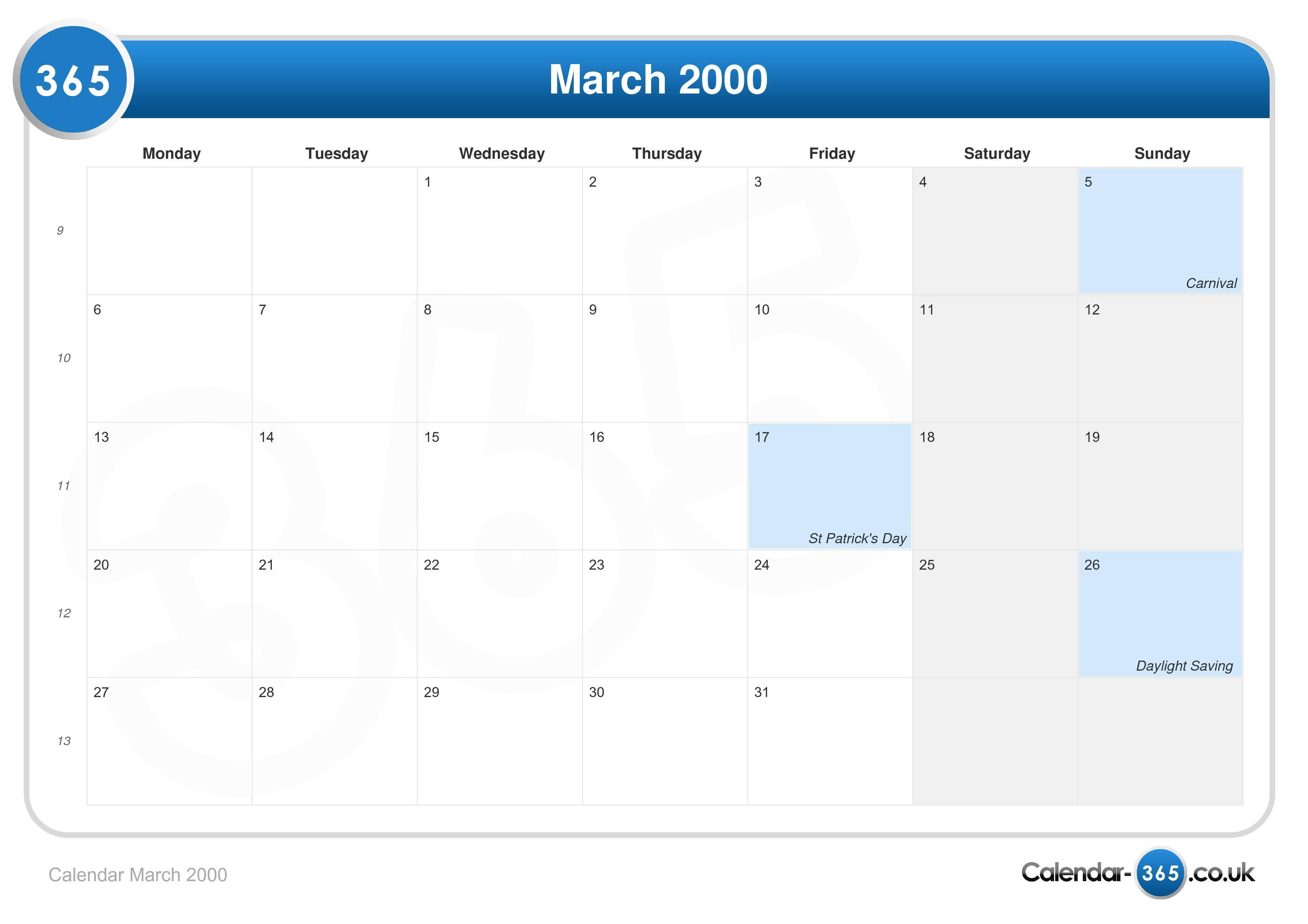 Calendar March 2000