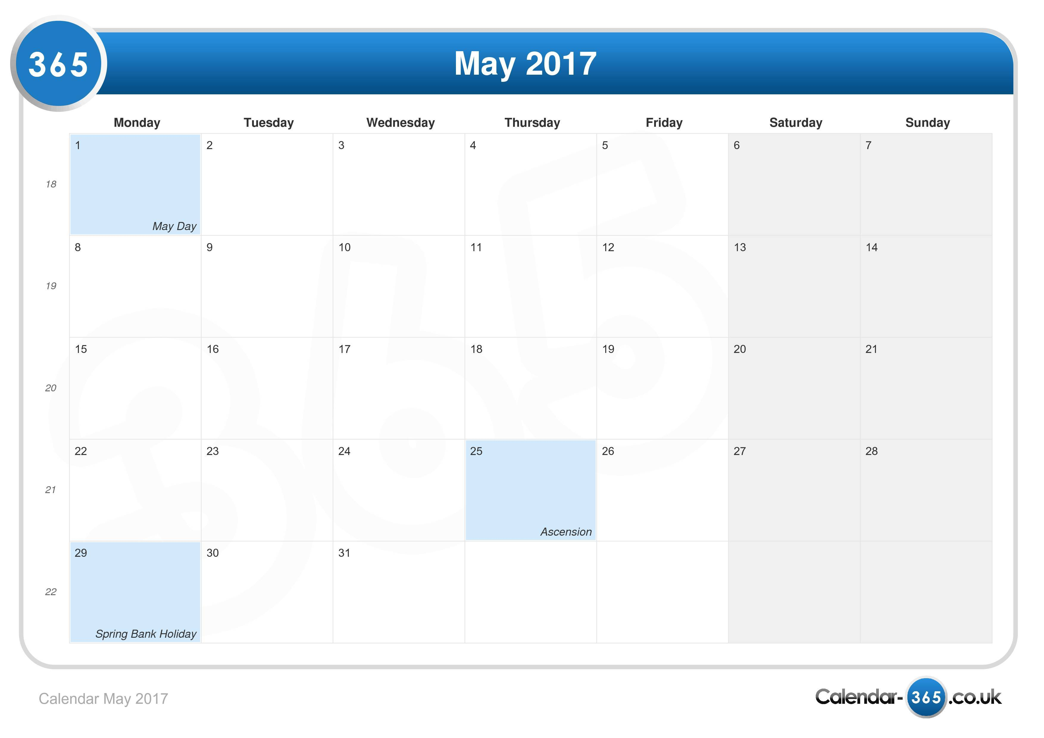 May 2017 Pretty Calender | New Calendar Template Site