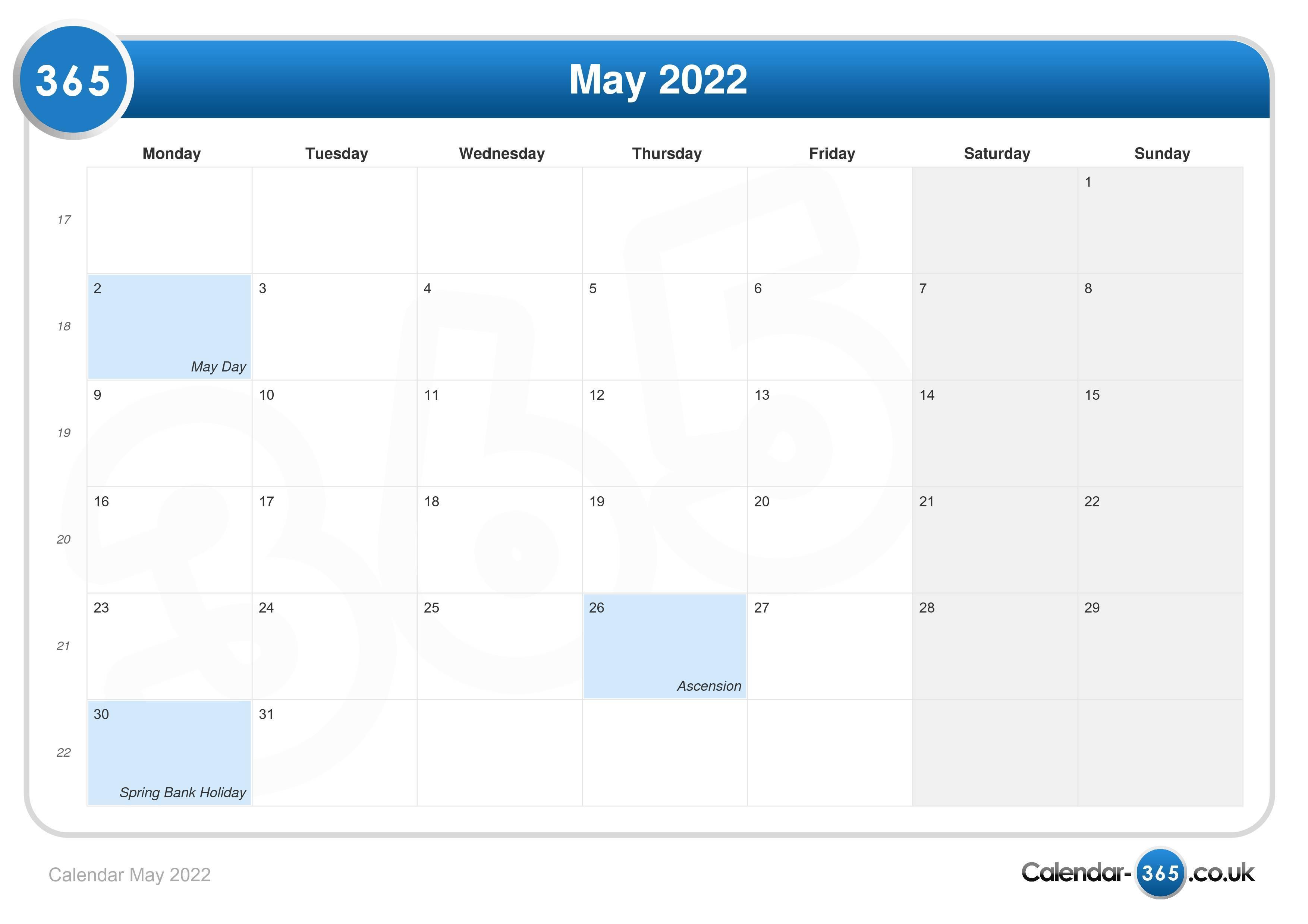 Calendar May 2022