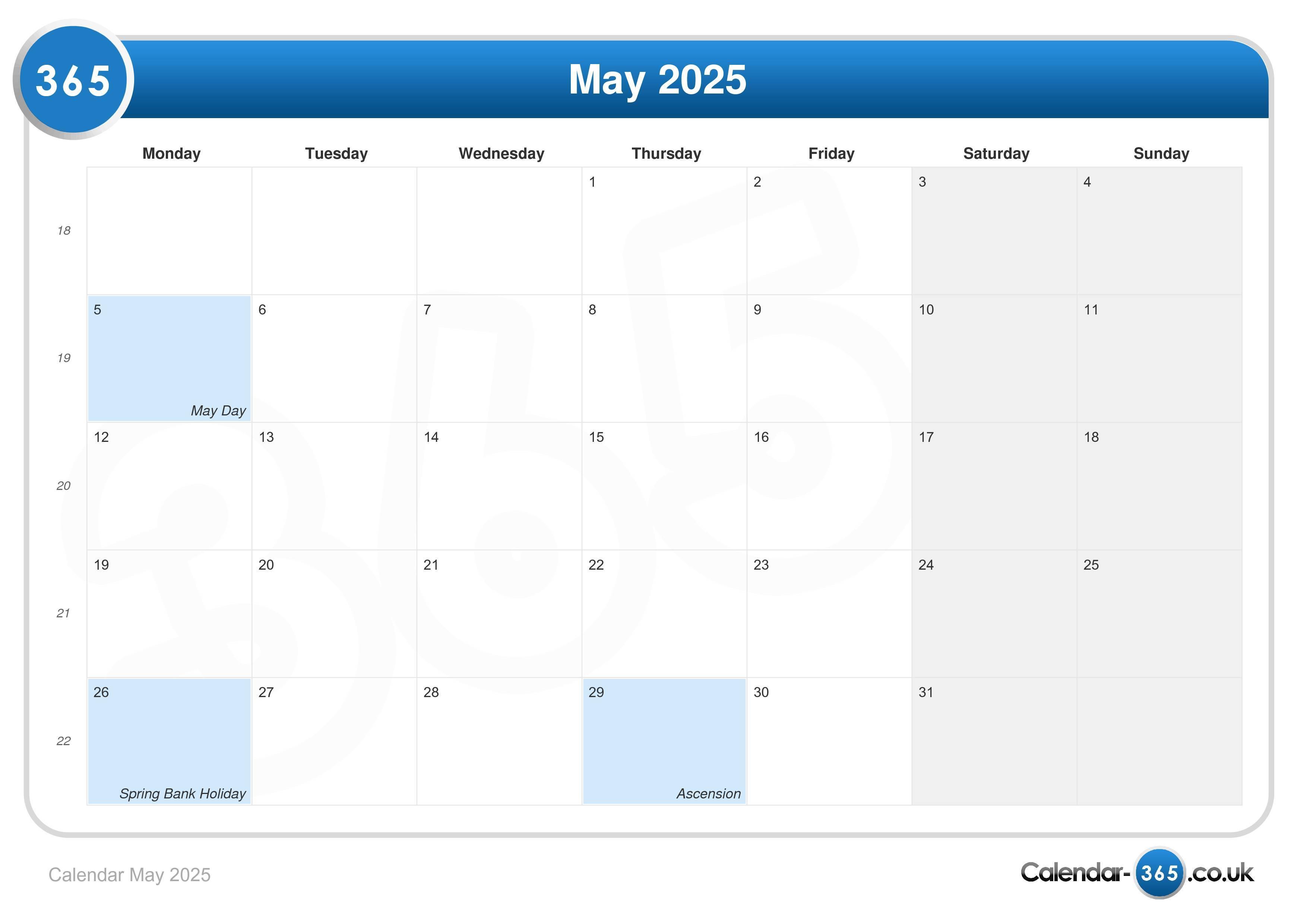 calendar may 2025