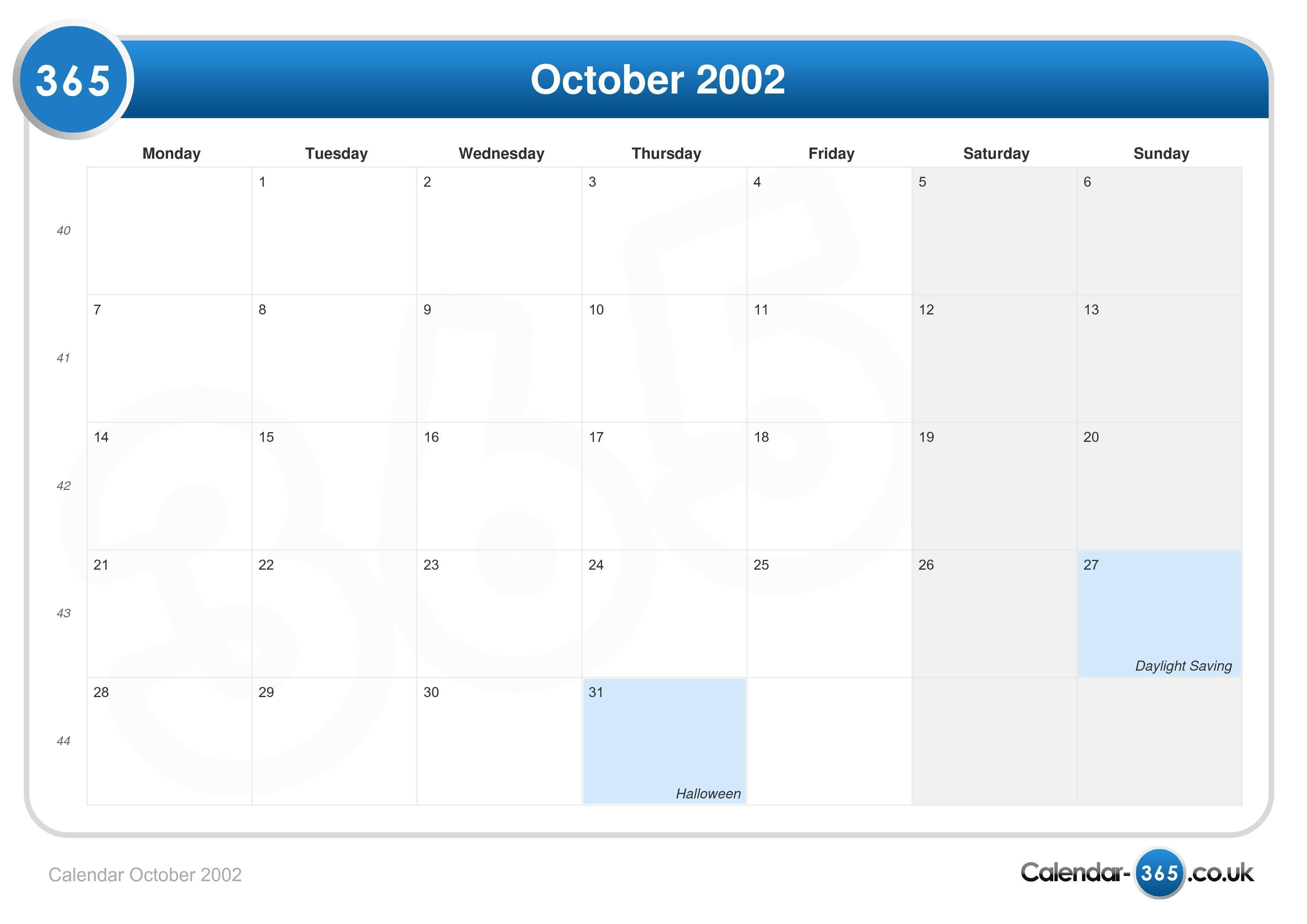 Calendar October 2002