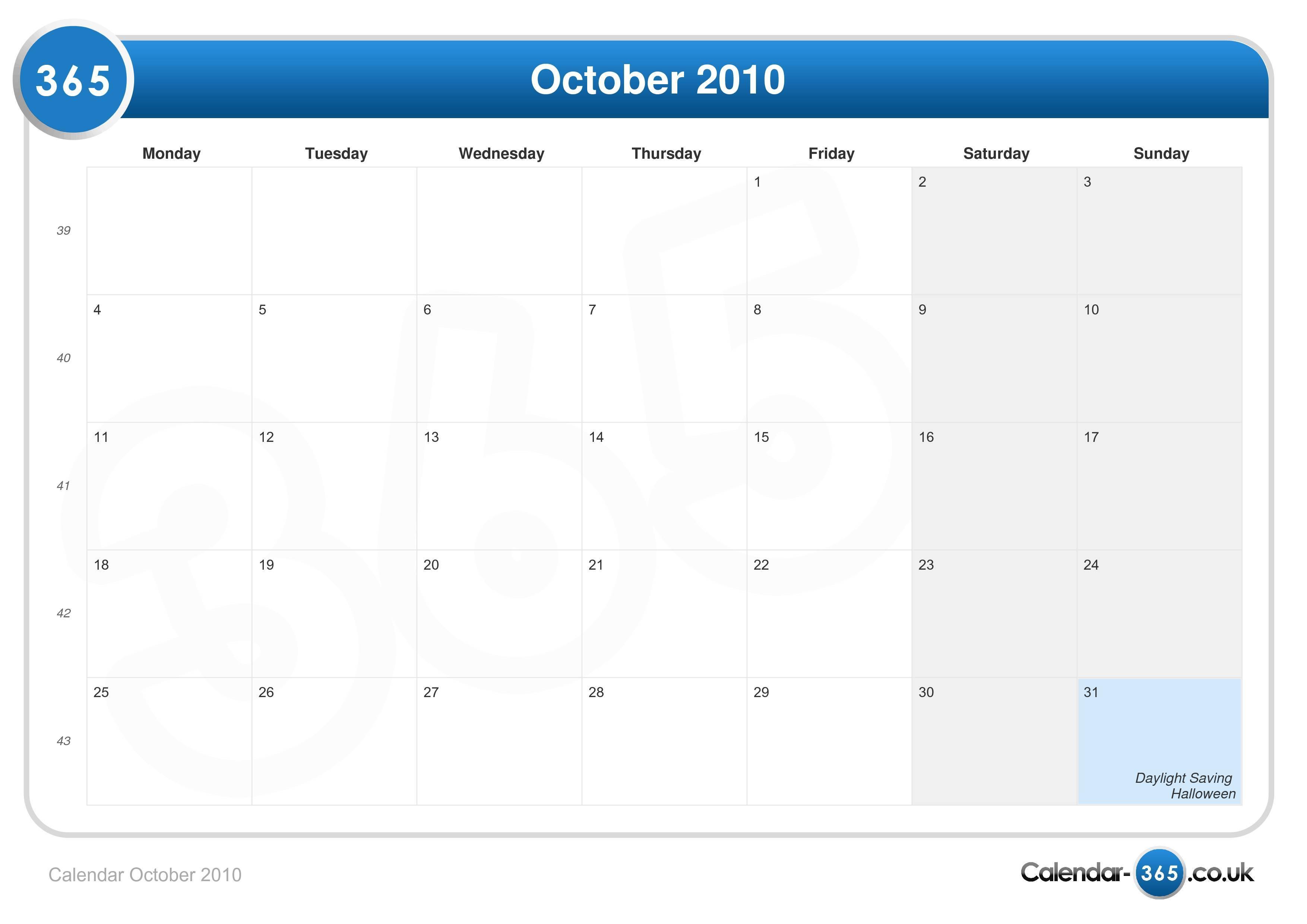 Printable October 2010 Calendar