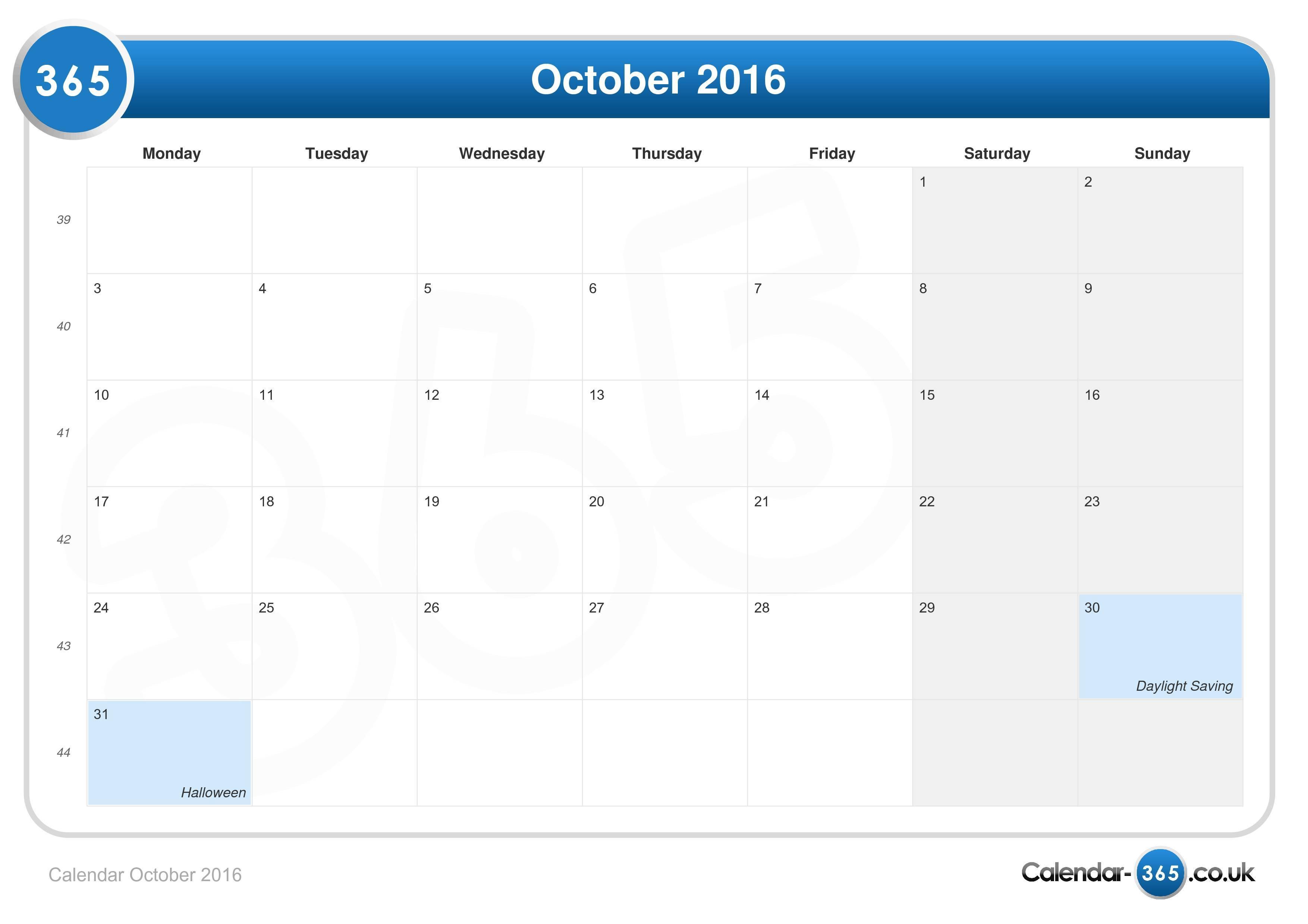 calendar october 2016